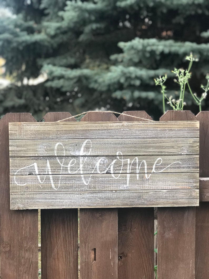 Welcome Wood Sign | Welcome Wall Decor | Welcome Sign | Welcome | Wood Sign | Hand Painted | Wedding Sign | Welcome Wedding | Within Tree Welcome Sign Wall Decor (View 2 of 30)