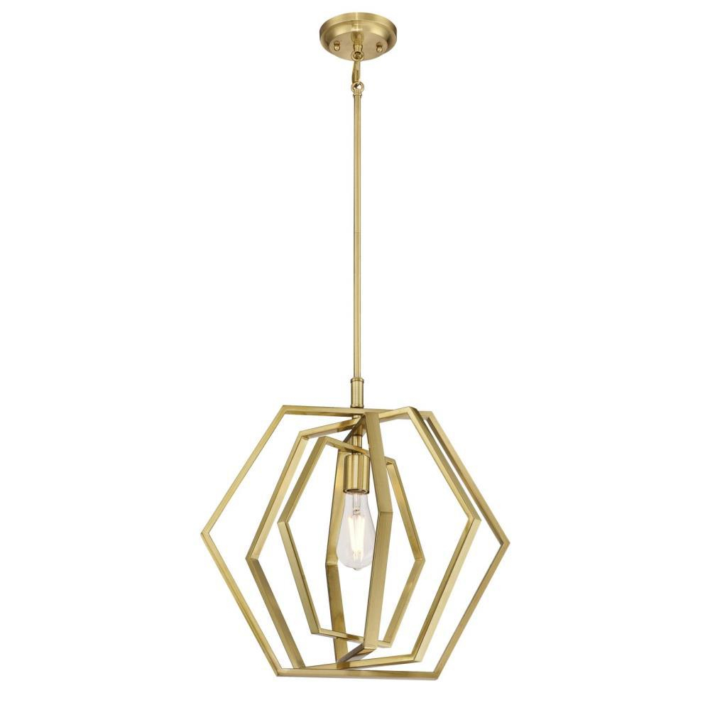 Westinghouse 1 Light Champagne Brass Pendant Throughout 1 Light Unique / Statement Geometric Pendants (View 30 of 30)