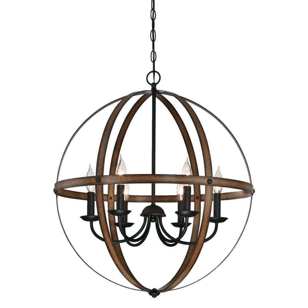 Westinghouse Stella Mira 6 Light Barnwood And Oil Rubbed Within Alden 6 Light Globe Chandeliers (Image 29 of 30)