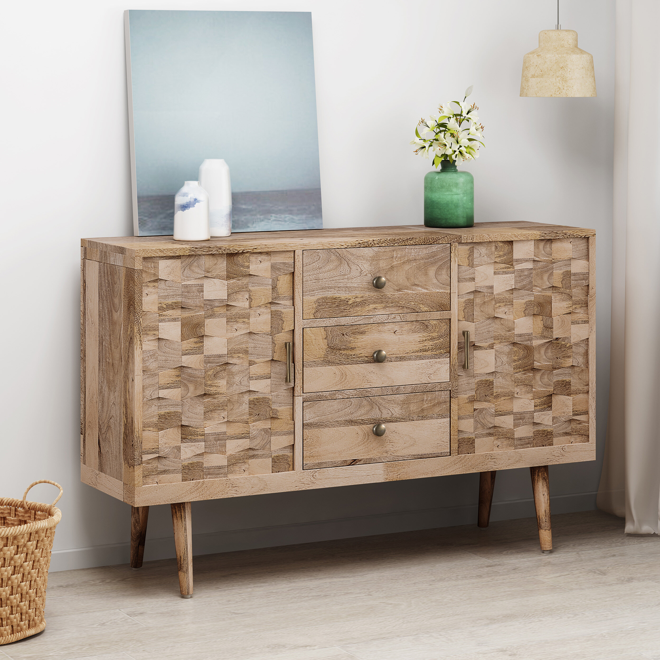 Westra Mid-Century Modern Mango Wood 3 Drawer Sideboard within Rosson Sideboards (Image 24 of 30)