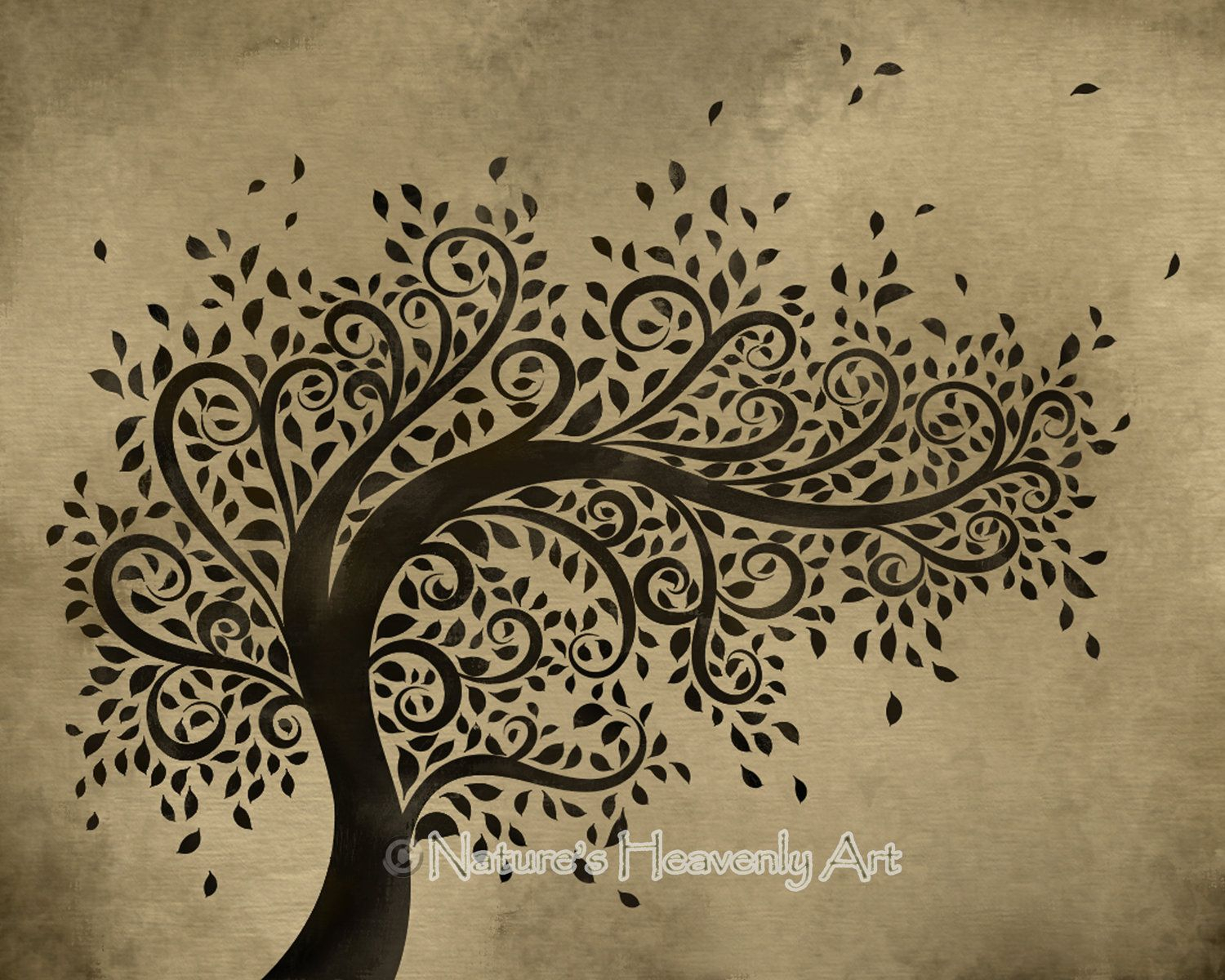 Whimsical Art | Whimsical Art Tree Wall Print, Curly in Blowing Leaves Wall Decor (Image 30 of 30)