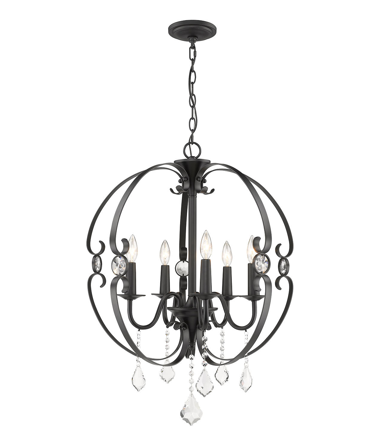 Whitcher 5 Light Globe Chandelier Throughout Gaines 5 Light Shaded Chandeliers (View 13 of 30)