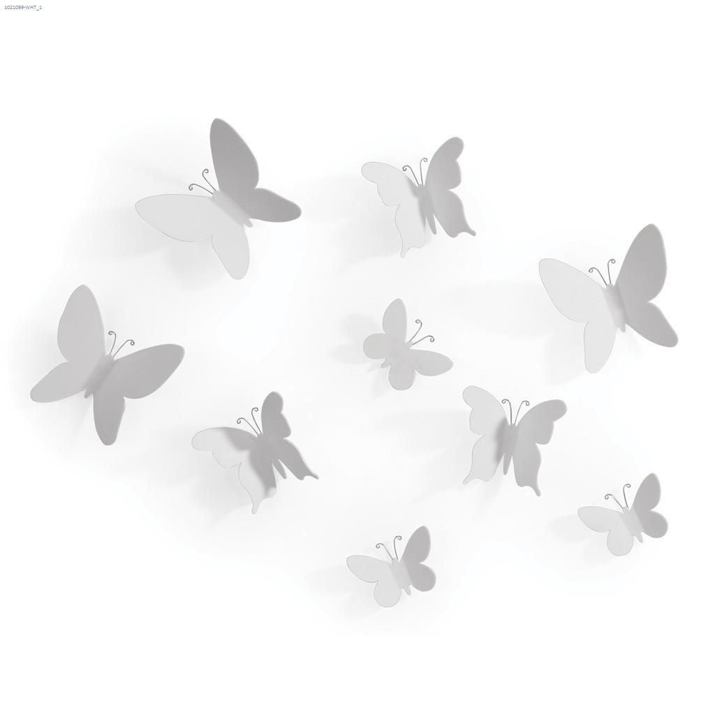 White 9 Piece Mariposa Wall Decor In Mariposa 9 Piece Wall Decor (View 30 of 30)