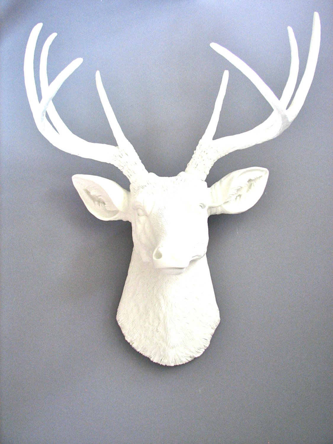 White Deer Head Faux Taxidermy Wall Mount Wall Hanging Regarding Large Deer Head Faux Taxidermy Wall Decor (View 7 of 30)