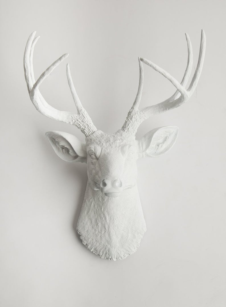 White Deer Head Wall Mount, The Templetonwhite Faux Taxidermy Decor – Resin Stag Mount – Large Faux Taxidermy Head Hanging Ornament In Large Deer Head Faux Taxidermy Wall Decor (View 10 of 30)