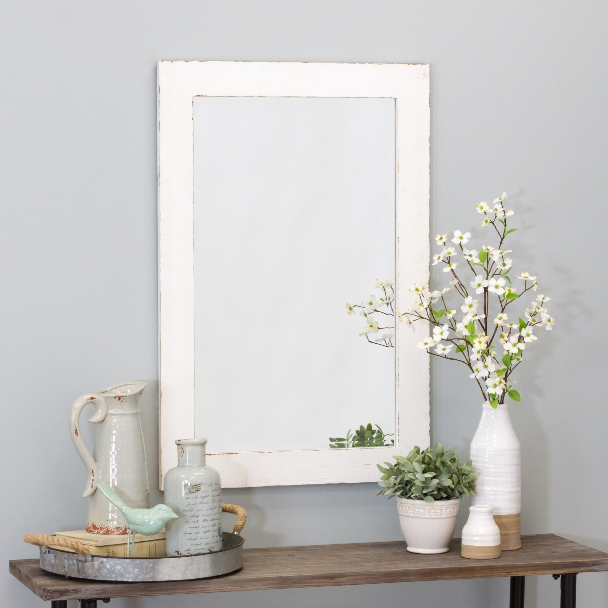 White, Wood Mirrors | Shop Online At Overstock with Longwood Rustic Beveled Accent Mirrors (Image 27 of 30)