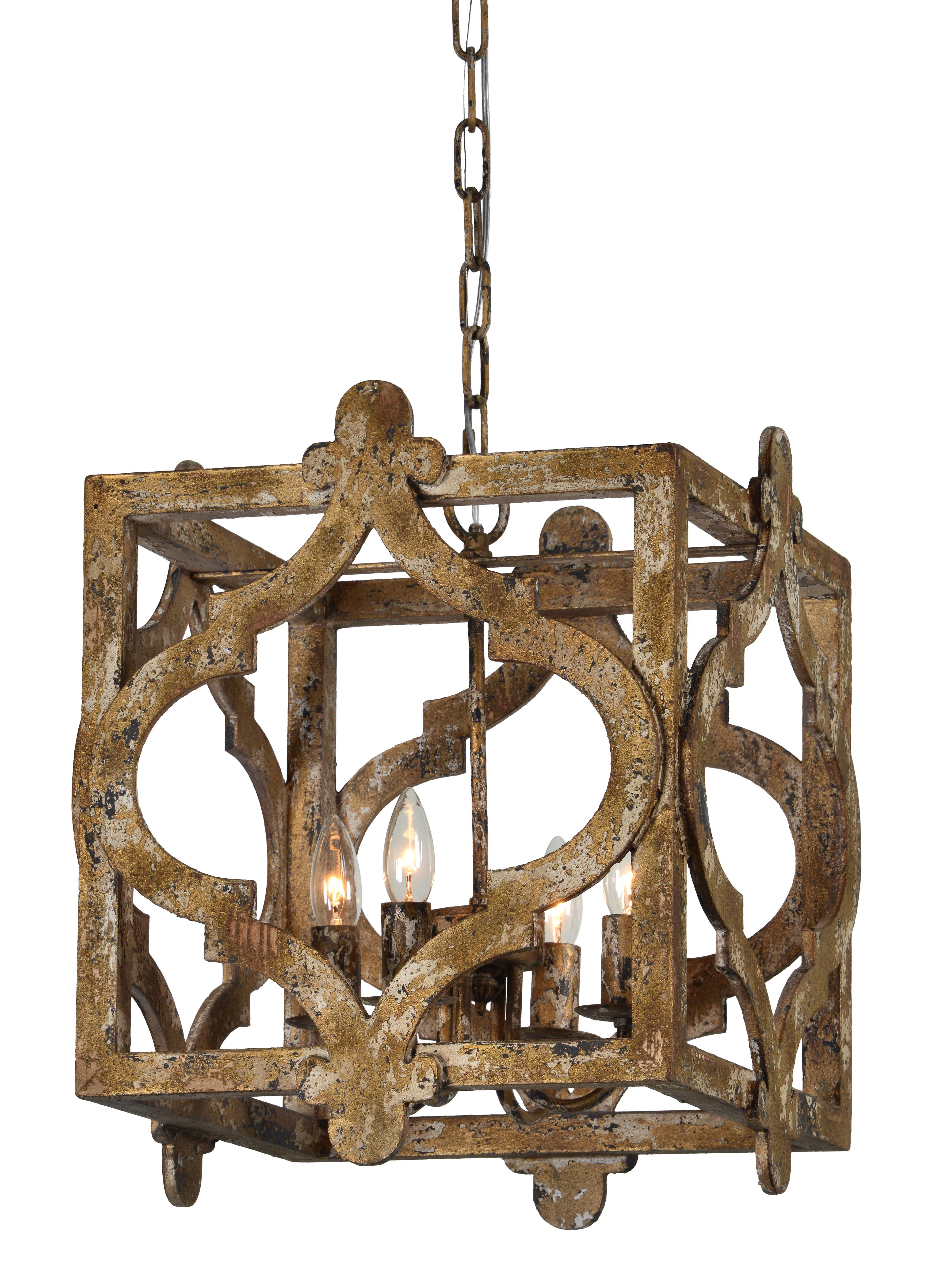 Whitney 4 Light Lantern Square Pendant With Regard To Freeburg 4 Light Lantern Square / Rectangle Pendants (View 5 of 30)