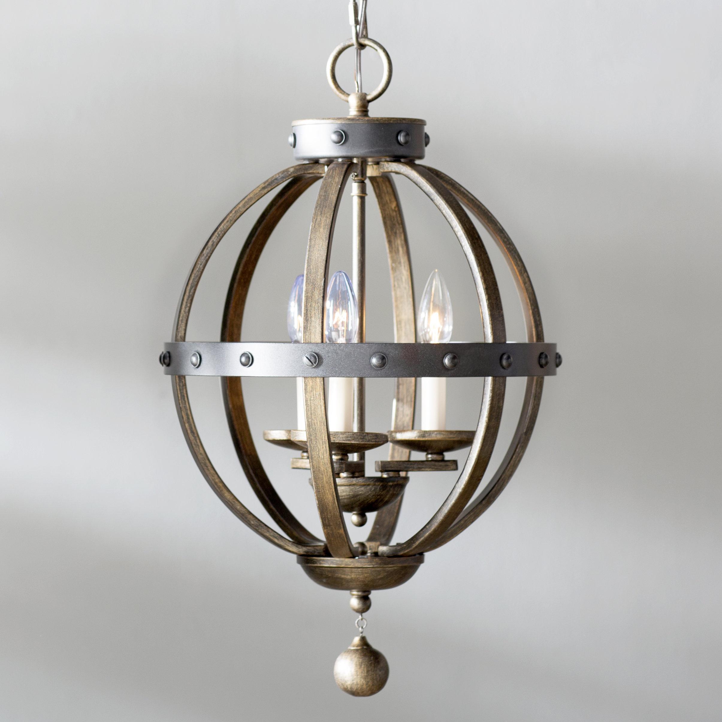 Wilburton 3 Light Globe Chandelier In La Sarre 3 Light Globe Chandeliers (View 5 of 30)