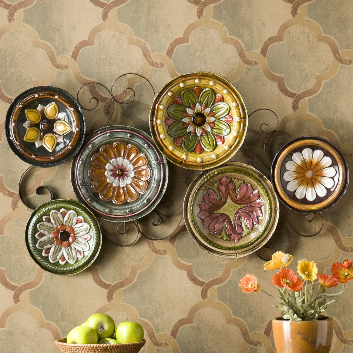 Wildon Home ® Scattered Italian Plates Wall Décor | Things Throughout Scattered Metal Italian Plates Wall Decor (View 29 of 30)