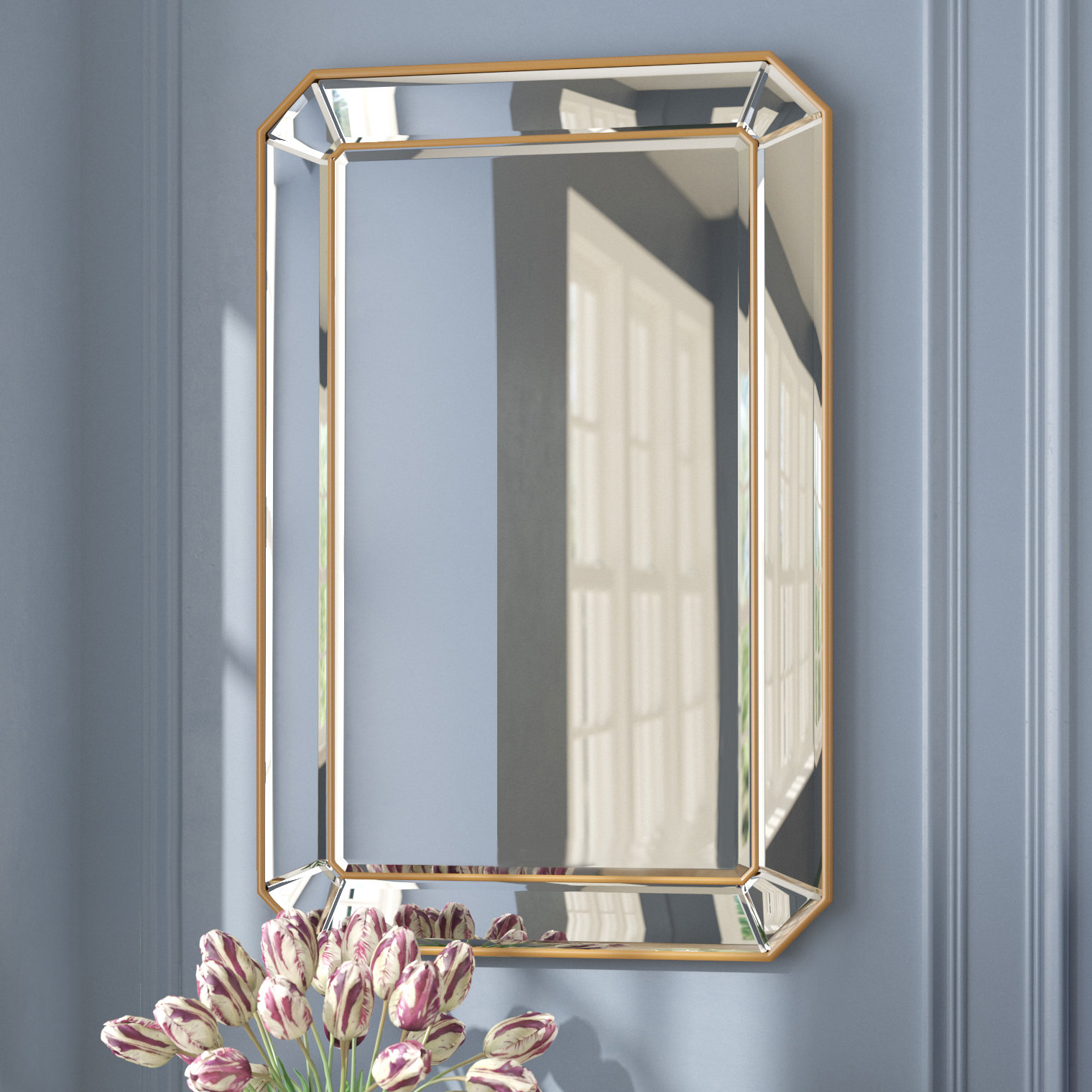 Willa Arlo Interiors Briley Rectangle Gold Angled Accent Pertaining To Rectangle Accent Wall Mirrors (View 4 of 30)