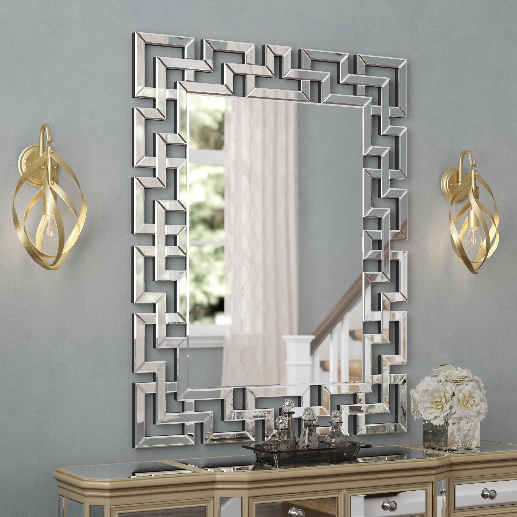 Willa Arlo Interiors Caja Rectangle Glass Frame Wall Mirror in Rectangle Ornate Geometric Wall Mirrors (Image 29 of 30)