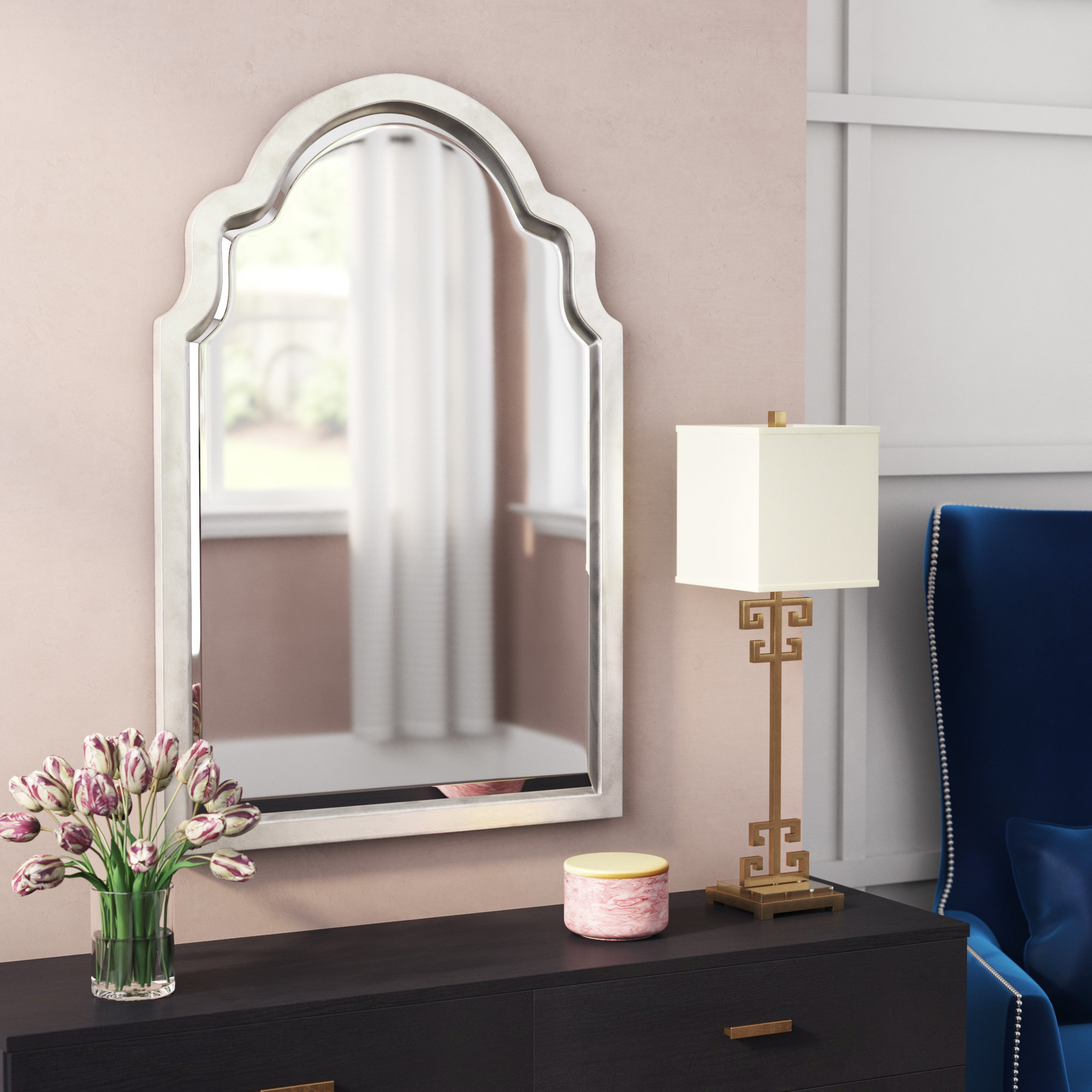 Willa Arlo Interiors Clariandra Silver Arched Wall Mirror Within Ekaterina Arch/crowned Top Wall Mirrors (View 19 of 30)