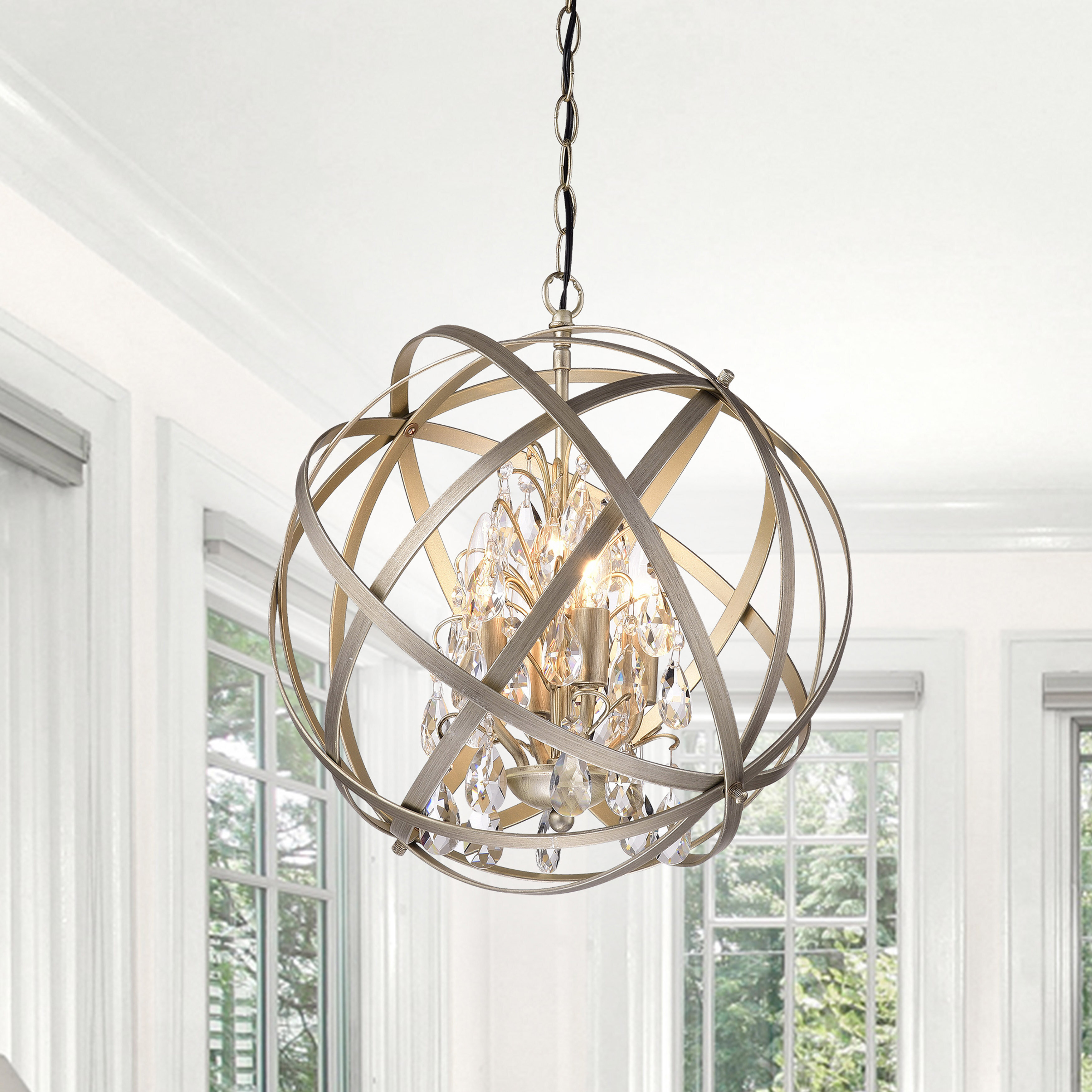 Willa Arlo Interiors Dalveen 4 Light Globe Chandelier With Regard To Adcock 3 Light Single Globe Pendants (View 13 of 30)