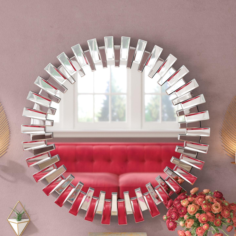 Willa Arlo Interiors Deniece Sunburst Round Wall Mirror Intended For Deniece Sunburst Round Wall Mirrors (View 27 of 30)