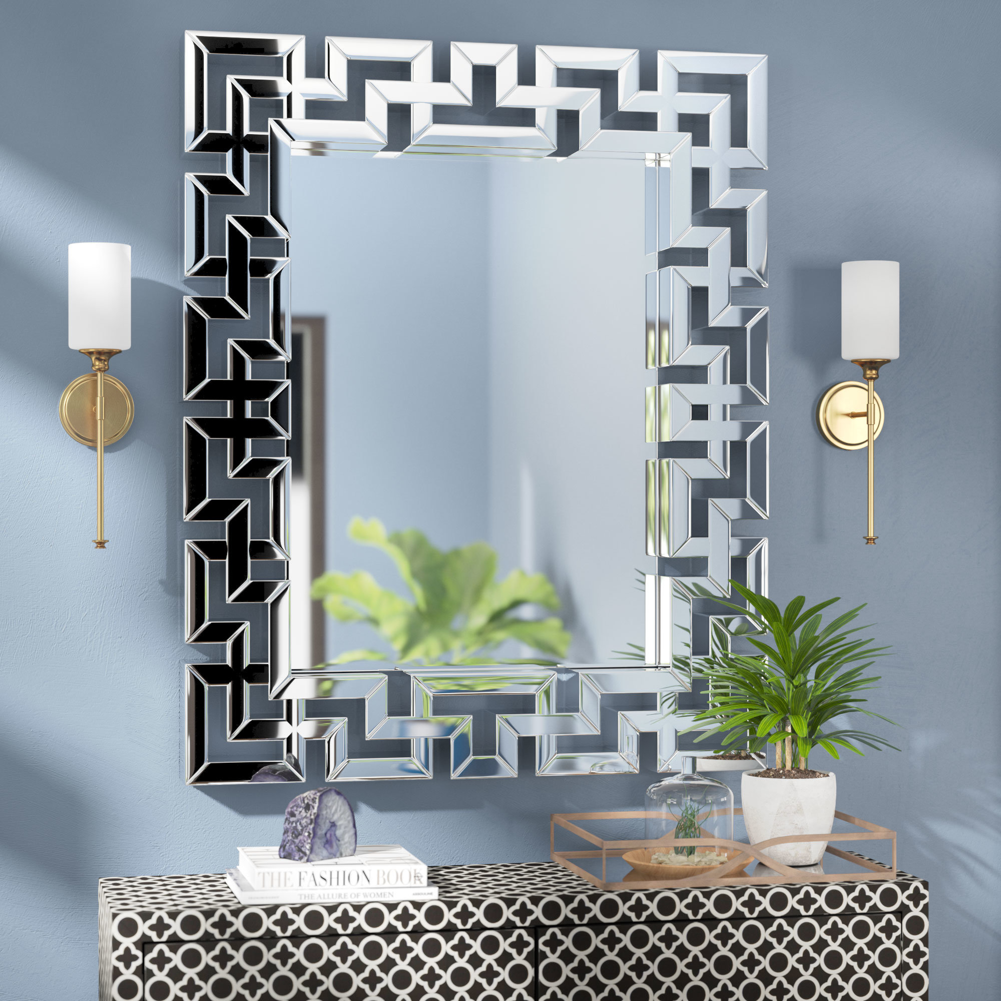 Willa Arlo Interiors Rectangle Ornate Geometric Wall Mirror With Regard To Caja Rectangle Glass Frame Wall Mirrors (View 11 of 30)