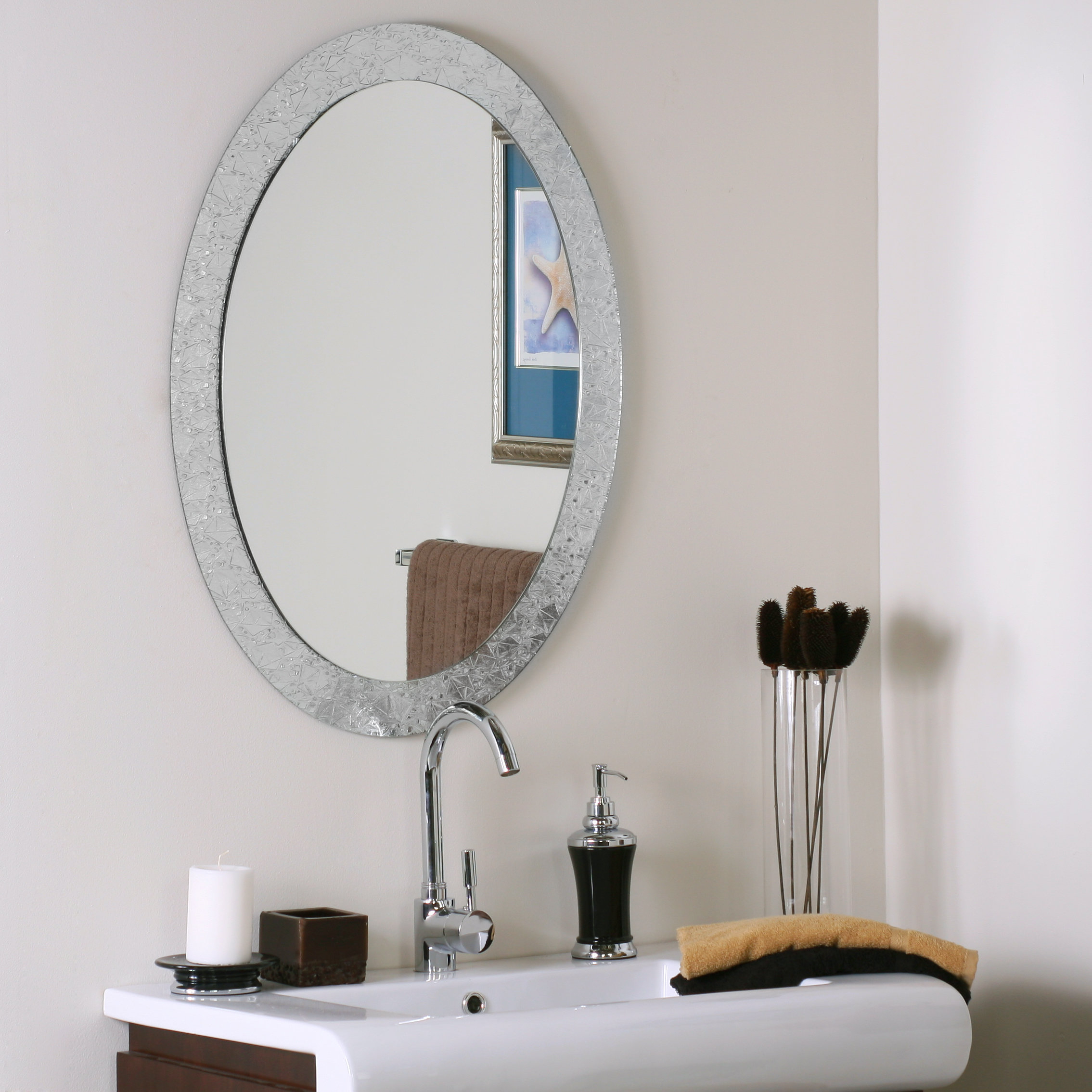 Willa Arlo Interiors Sajish Oval Crystal Wall Mirror Throughout Sajish Oval Crystal Wall Mirrors (View 2 of 30)
