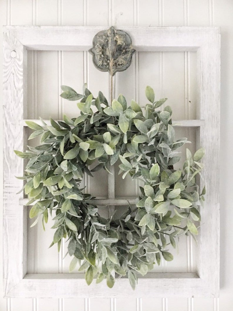 Window Frame Wall Decor - Farmhouse Wall Decor - French Country Cottage -  Floral Wall Hanging - Rustic Frame With Wreath - Wood Wall Frame with regard to Floral Wreath Wood Framed Wall Decor (Image 29 of 30)