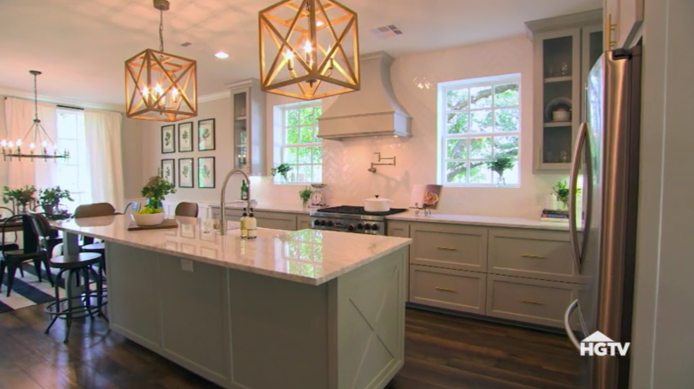 Windows On Either Side Of Stove – Parallel Island | Home With Ariel 2 Light Kitchen Island Dome Pendants (Image 30 of 30)