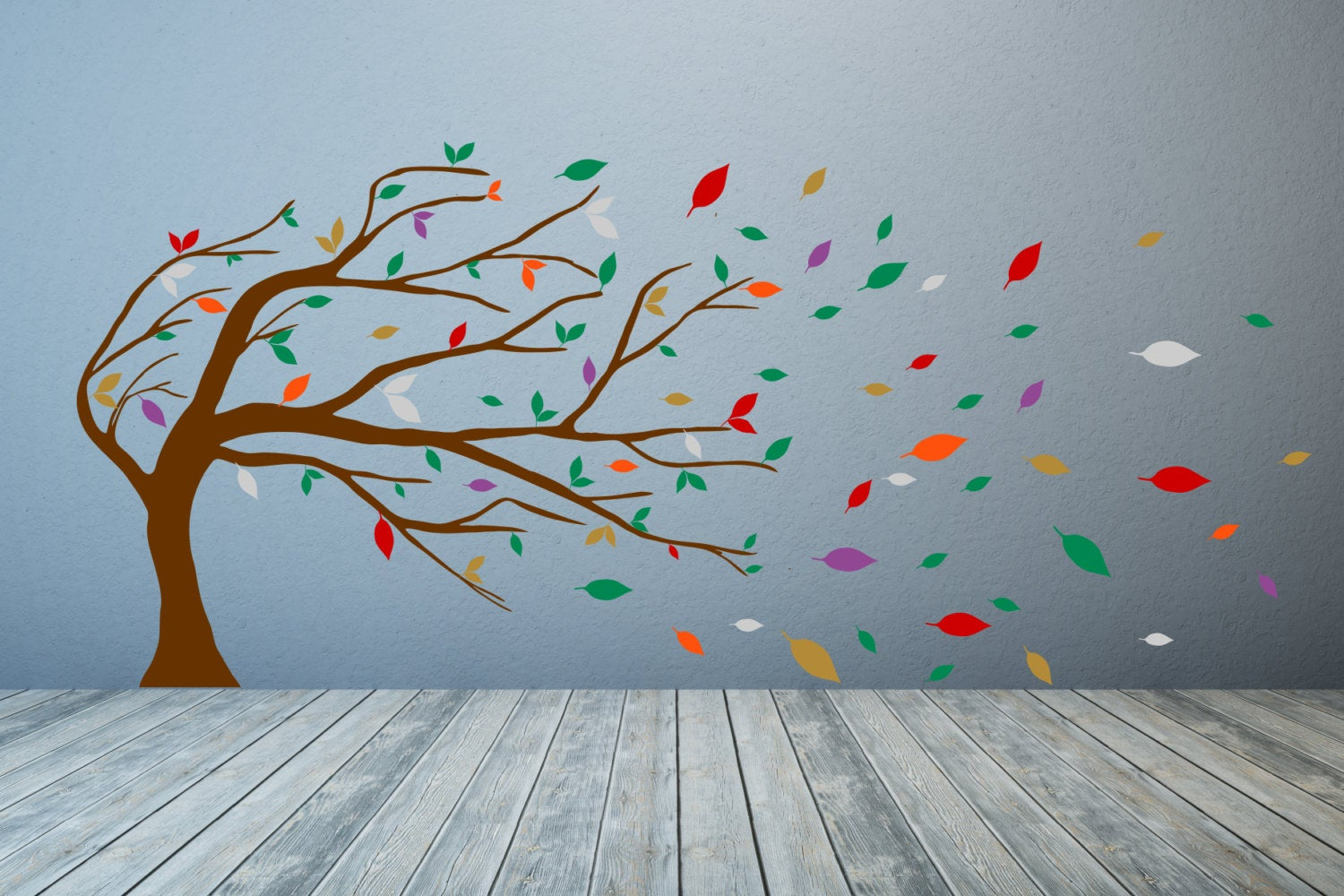 Windswept Tree & Leaves. Vinyl Wall Art Decal Sticker Quote. Any Colour And Size (View 10 of 30)