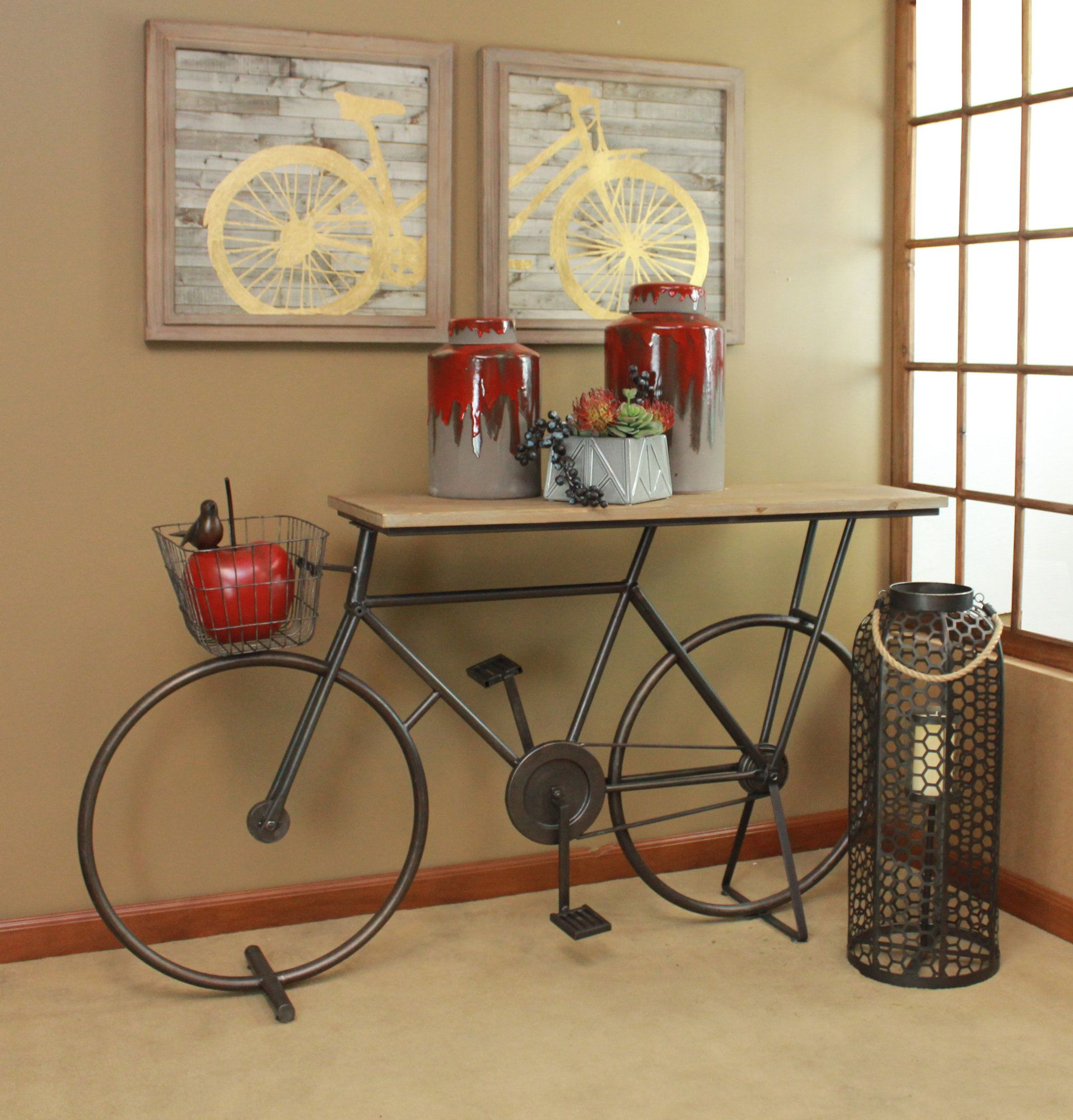 Winslow Bicycle Console Table | Products | Decor, Bicycle With Bike Wall Decor By August Grove (View 16 of 30)