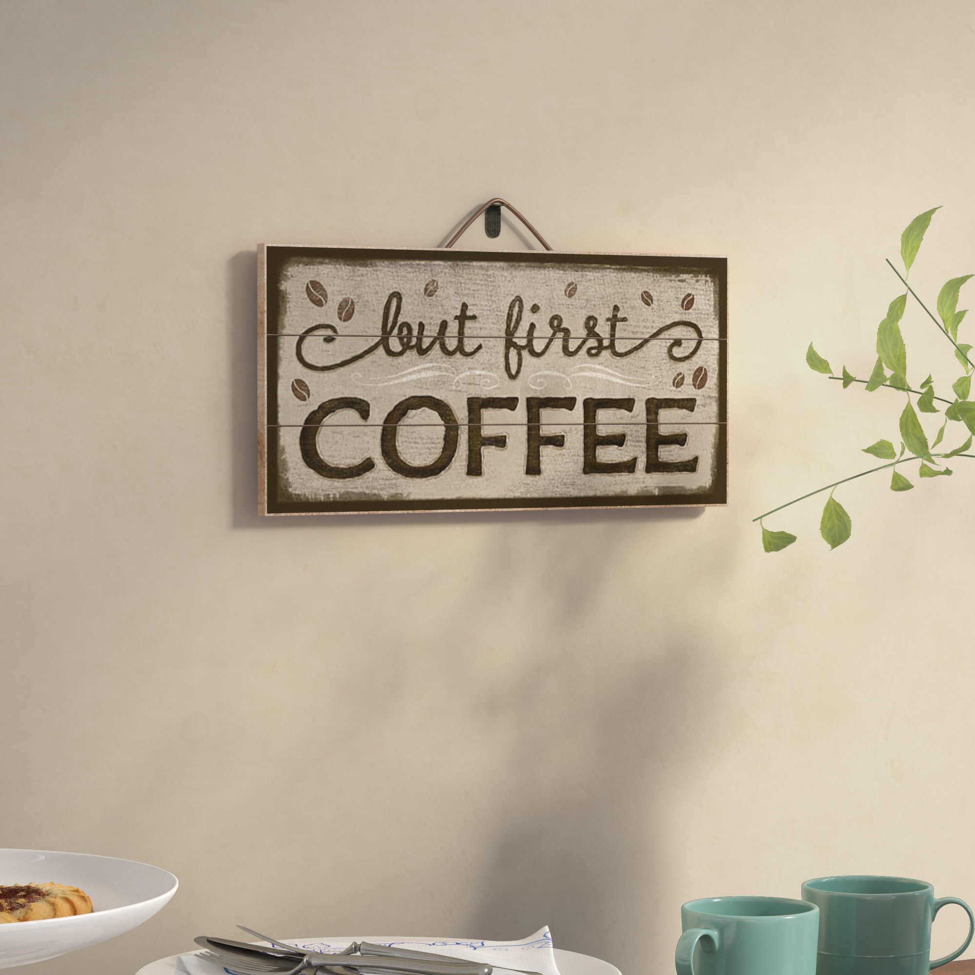 Winston Porter But First Coffee Horizontal Pallet Wood Sign in Metal Laundry Room Wall Decor By Winston Porter (Image 23 of 30)