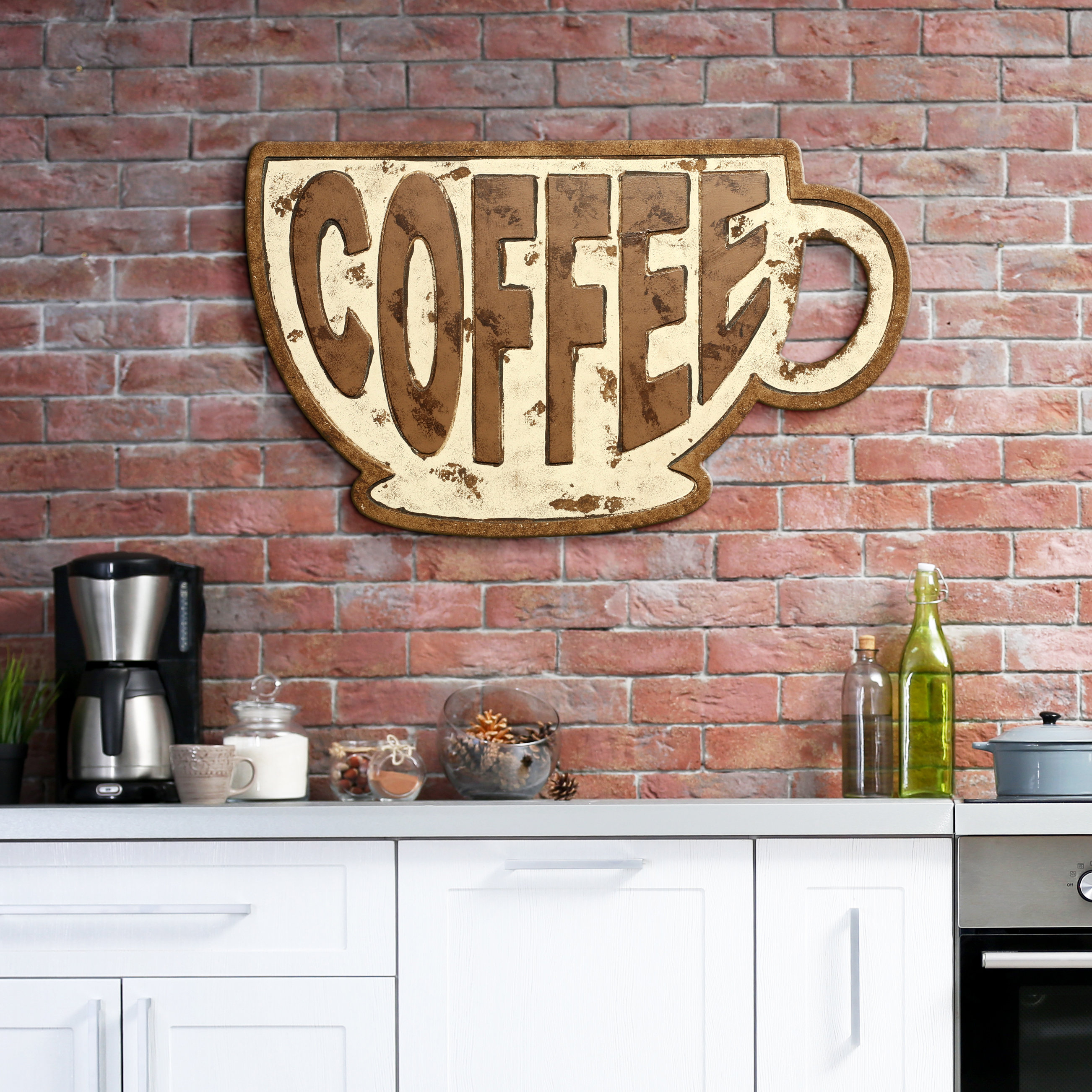 Winston Porter Coffee Mug Sign Wall Décor | Wayfair pertaining to Coffee Sign With Rebar Wall Decor (Image 30 of 30)