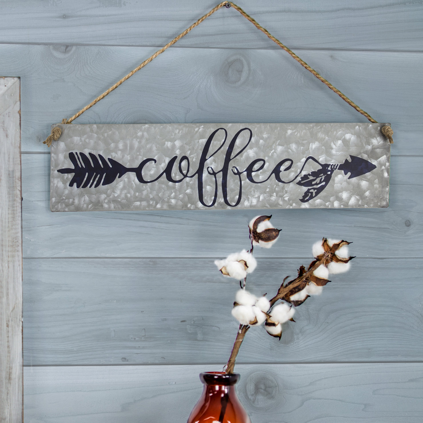Winston Porter Galvanized Metal Hanging Coffee Sign Wall regarding Metal Laundry Room Wall Decor by Winston Porter (Image 24 of 30)