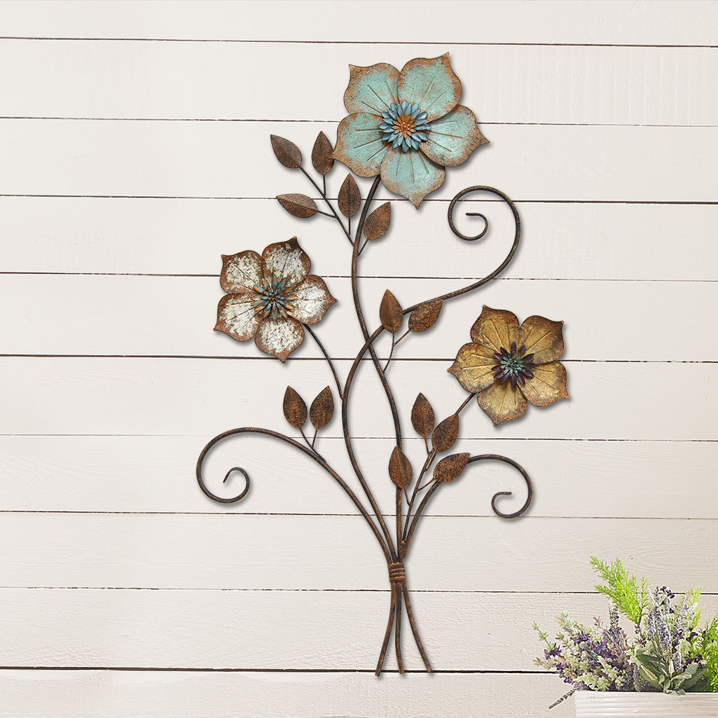 Wire Flower Wall Decor   Wayfair Intended For Three Flowers On Vine Wall Decor (View 4 of 30)