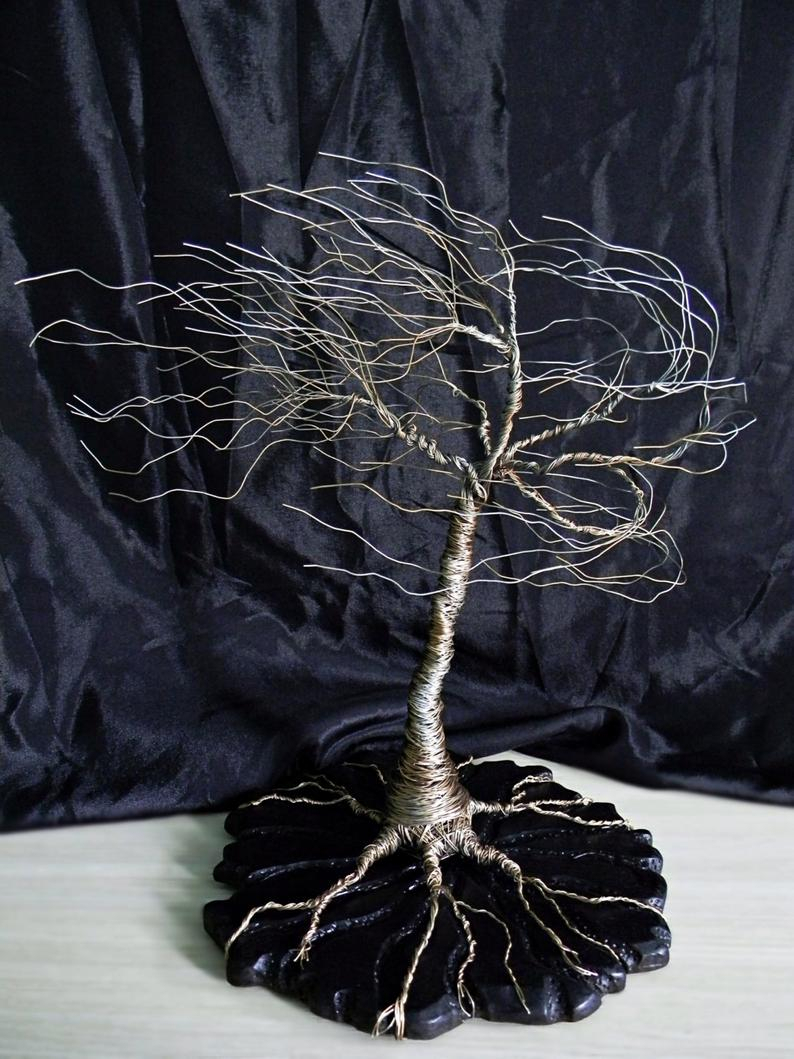Wire Tree Sculpture On Wood Base (View 20 of 30)