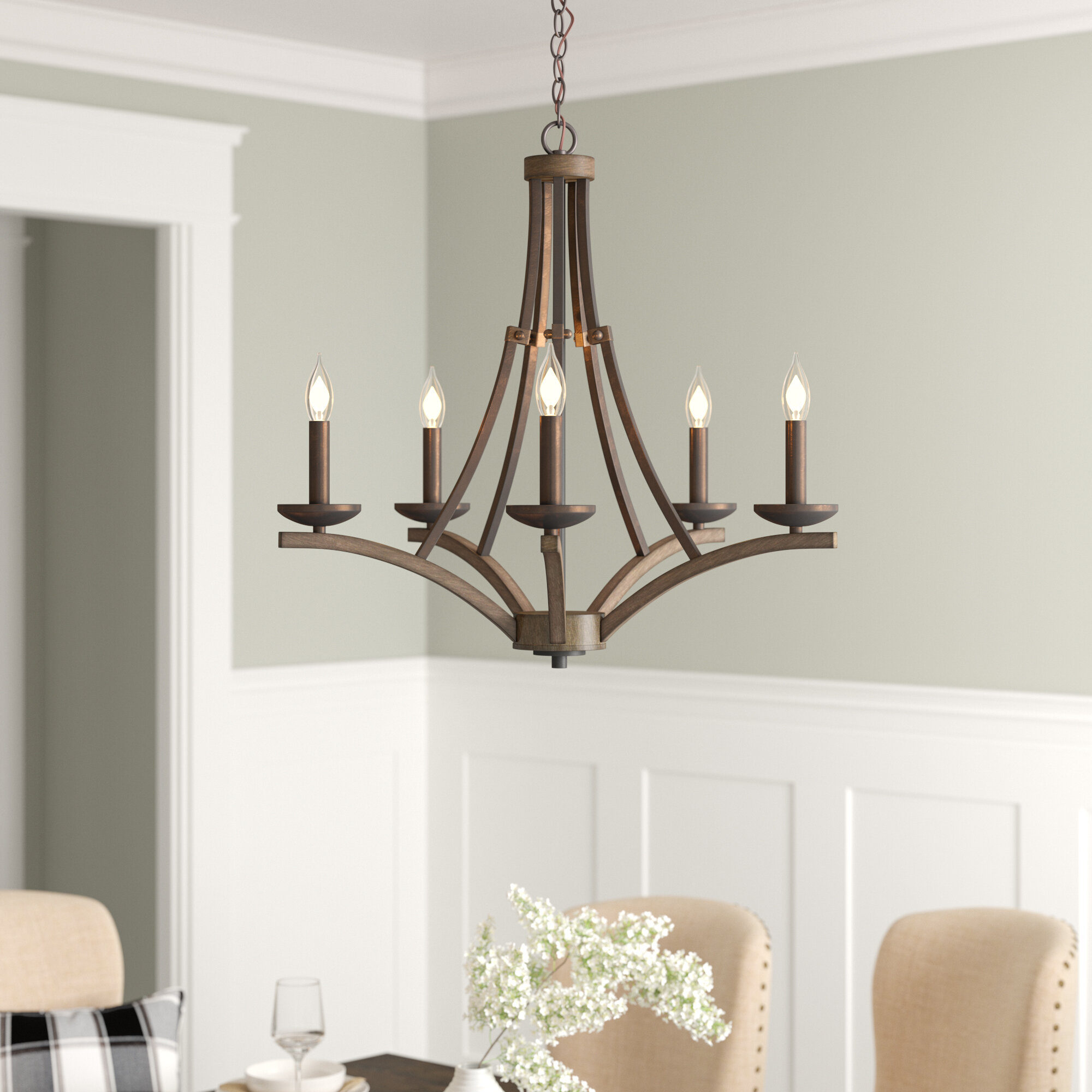 Wireman 5 Light Candle Style Chandelier With Berger 5 Light Candle Style Chandeliers (View 11 of 30)
