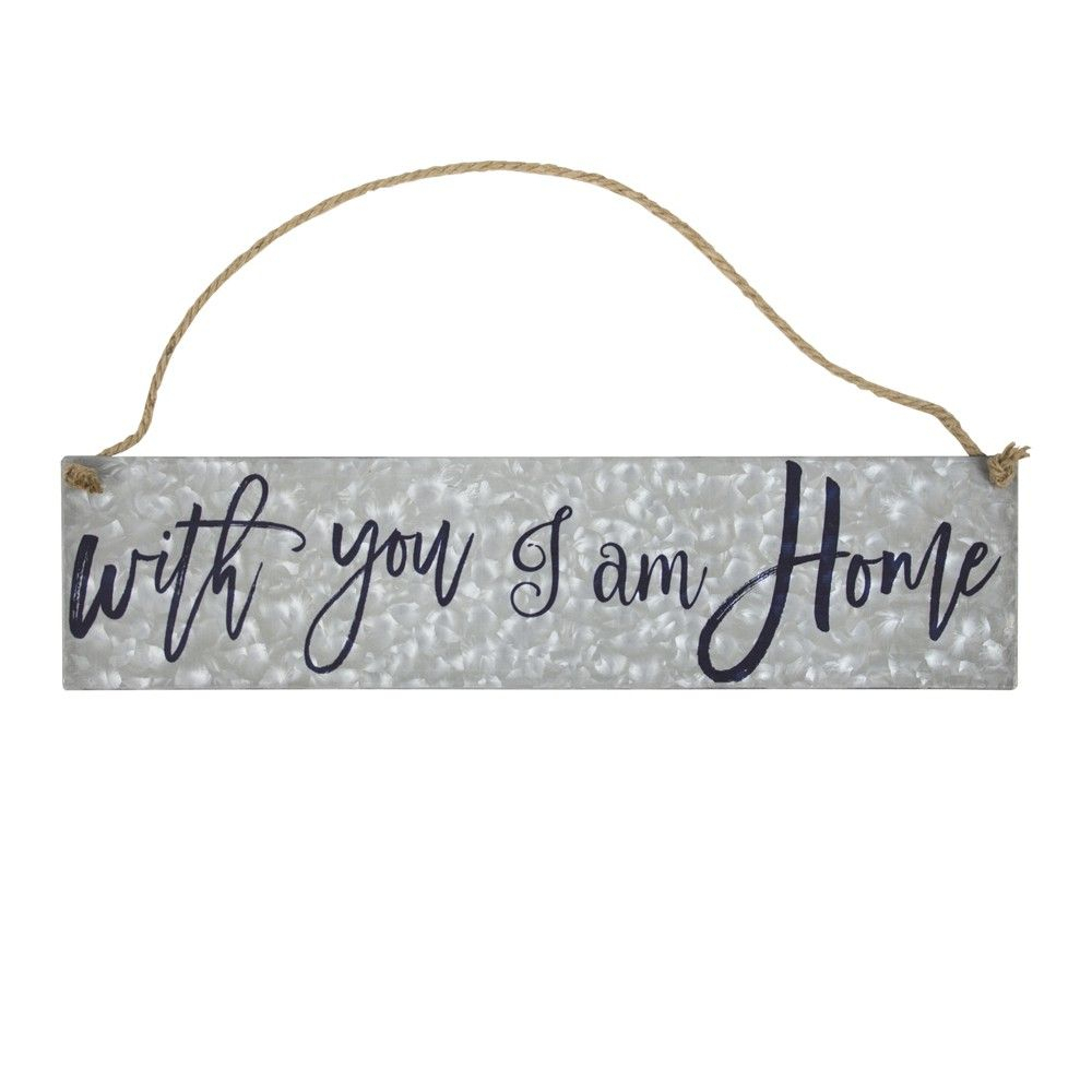 """With You I Am Home"""" Galvanized Metal With Rope Hanger Wall With Metal Rope Wall Sign Wall Decor (View 29 of 30)"""