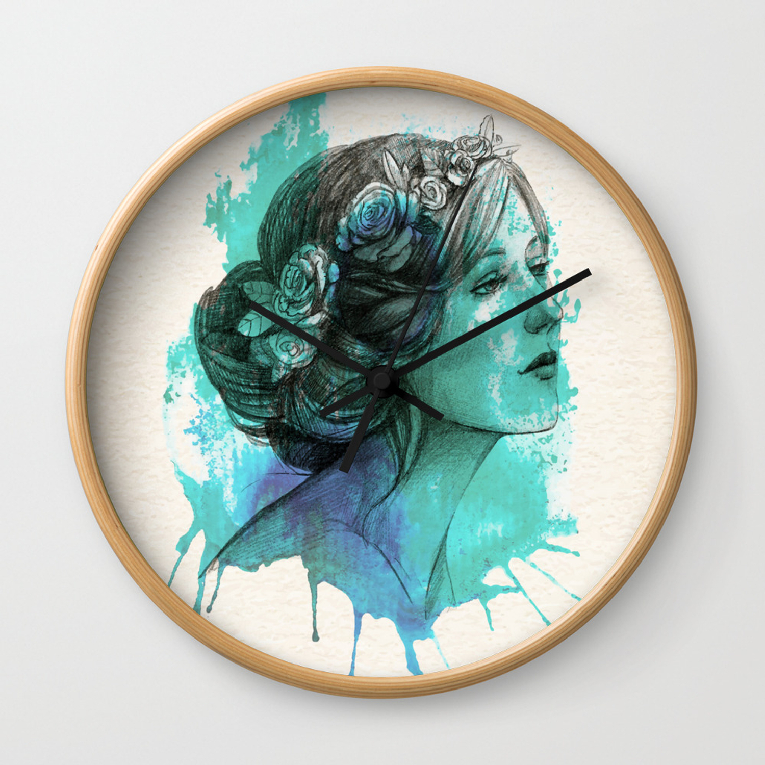 Woman With Floral Wreath In Watercolor Wall Clock with regard to Floral Wreath Wood Framed Wall Decor (Image 30 of 30)