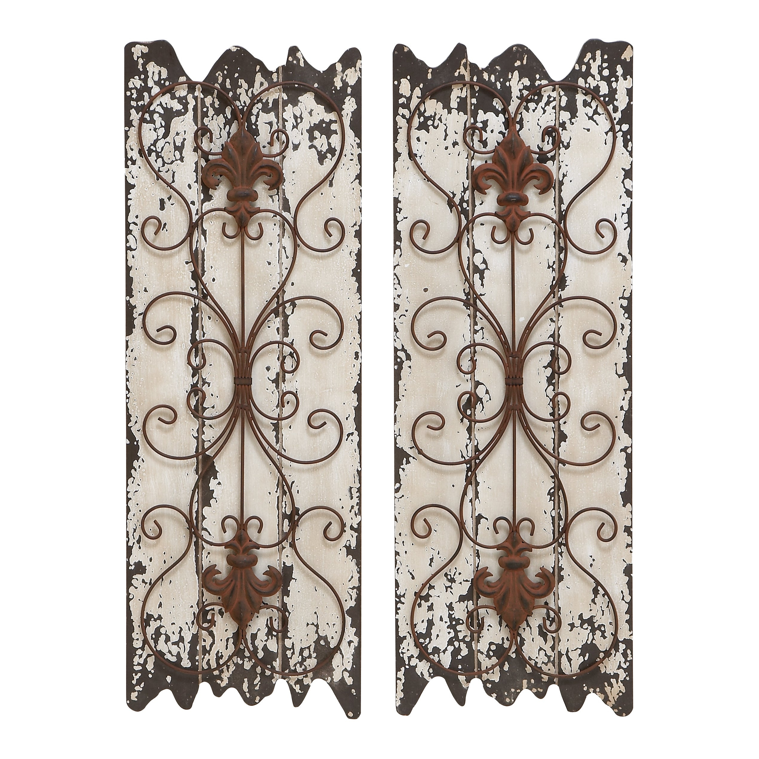 Wood And Metal Wall Decor Panel (set Of 2) – White In Brown Wood And Metal Wall Decor (View 5 of 30)