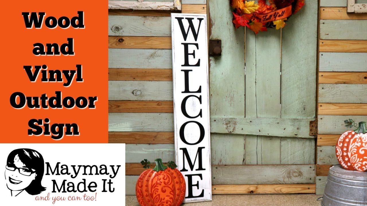 """Wood And Vinyl Welcome Sign Using Cricut in In-a-Word """"welcome"""" Wall Decor (Image 29 of 30)"""