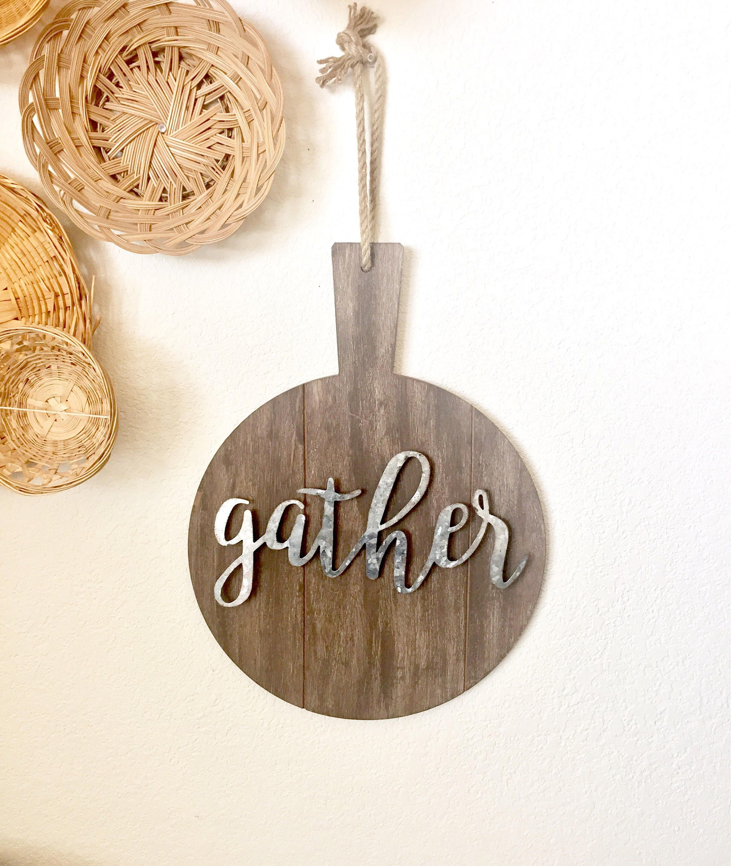 Wood Cutting Board With Gather Metal Sign, Cursive Gather Regarding Choose Happiness 3D Cursive Metal Wall Decor (View 30 of 30)