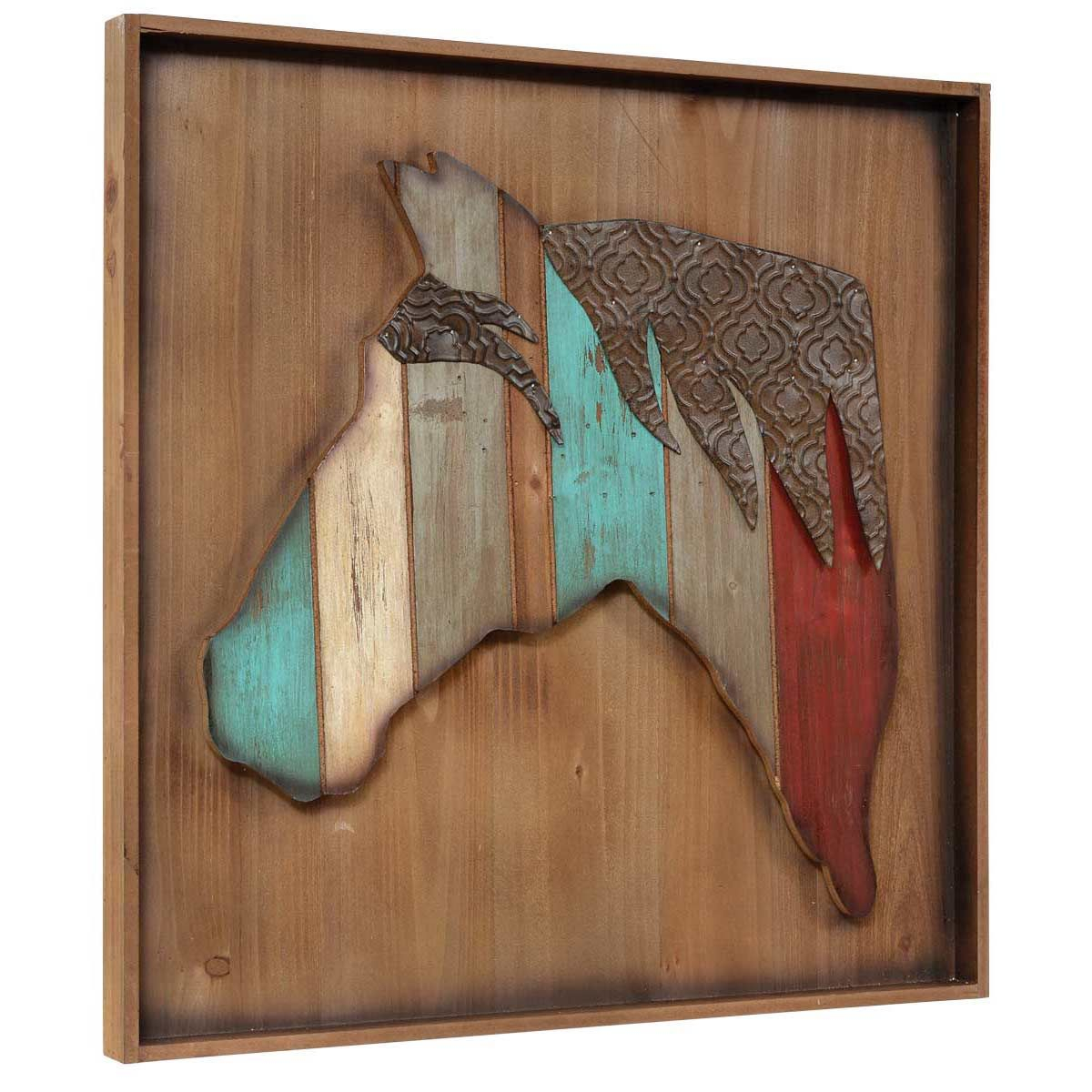 Wood & Embossed Metal Horse Wall Art in Brown Wood and Metal Wall Decor (Image 21 of 30)