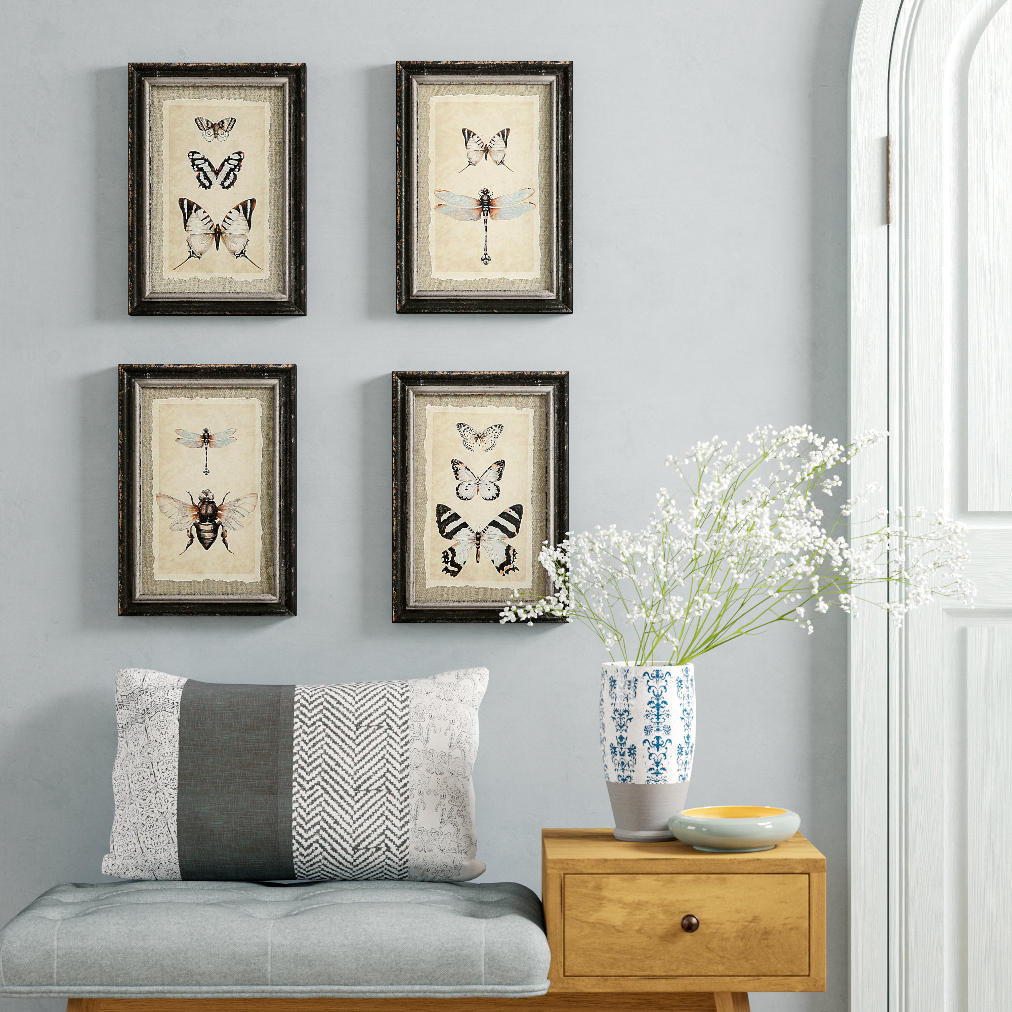 'wood Framed Vintage Insect Prints' 4 Piece Framed Graphic Art Print Set On Wood Throughout 4 Piece Wall Decor Sets By Charlton Home (View 3 of 30)
