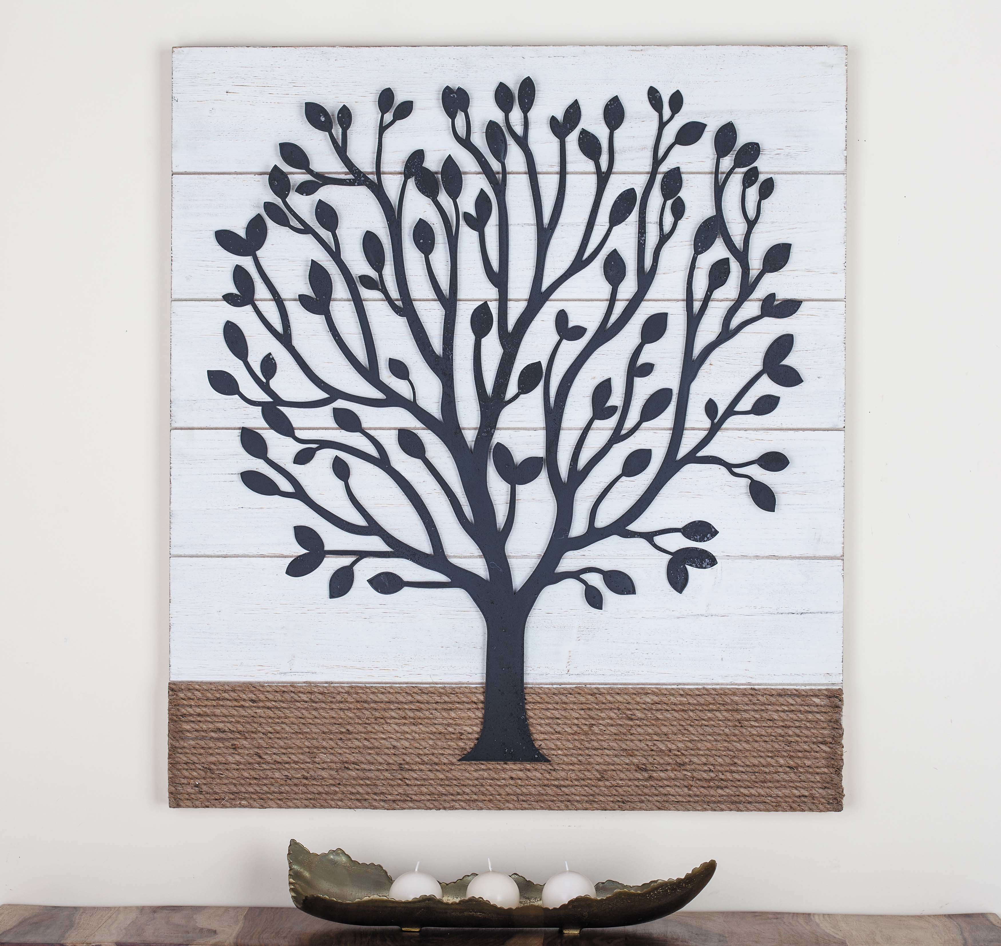 Wood/metal Rope Wall Décor with Metal Rope Wall Sign Wall Decor (Image 29 of 30)
