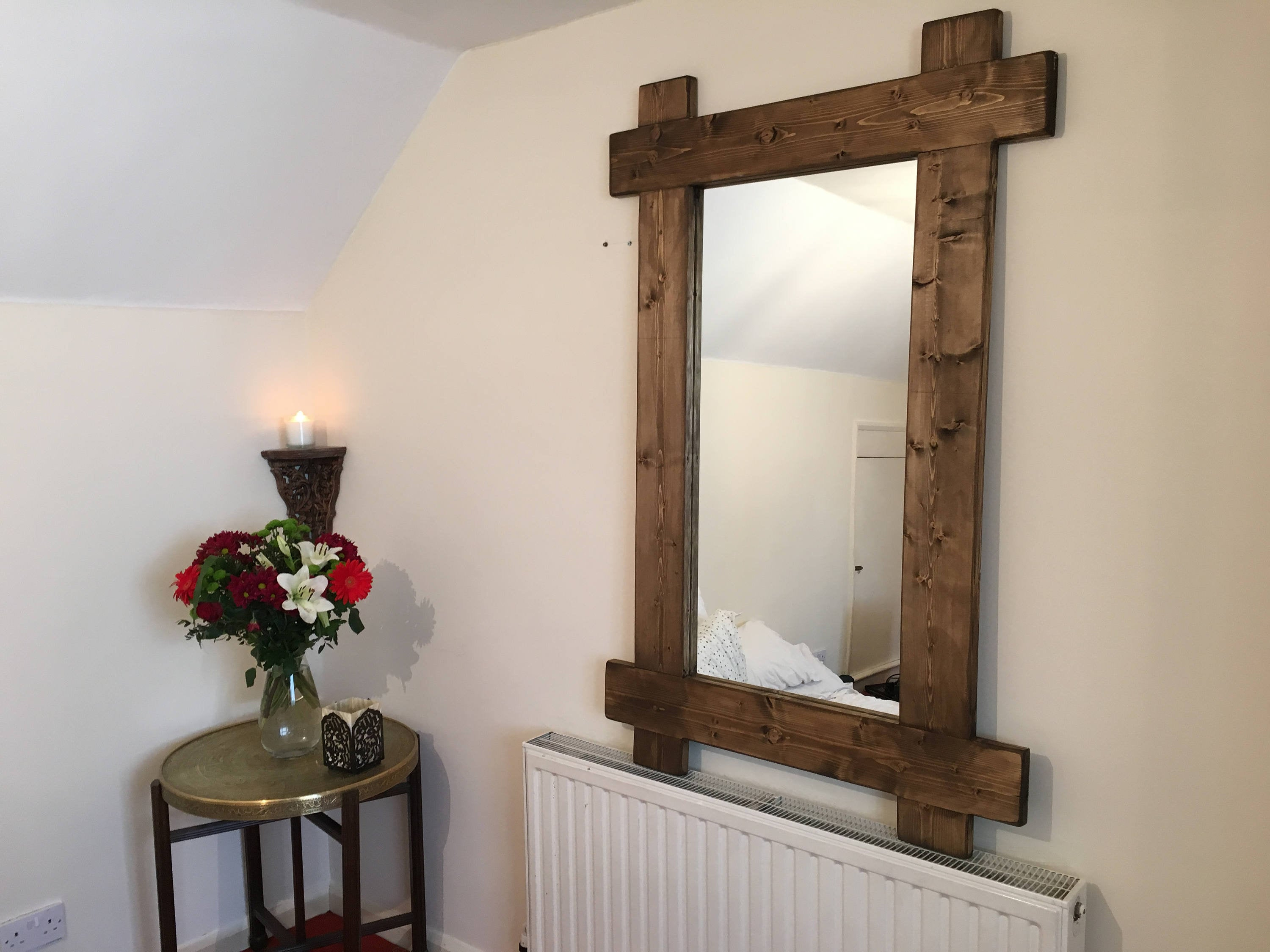 Wood Mirror – Handmade Rustic Crossed Farmhouse Country Style Solid Chunky Wooden Feature Piece Wide Full Length Wall Hanging Shabby Chic For Handcrafted Farmhouse Full Length Mirrors (View 30 of 30)