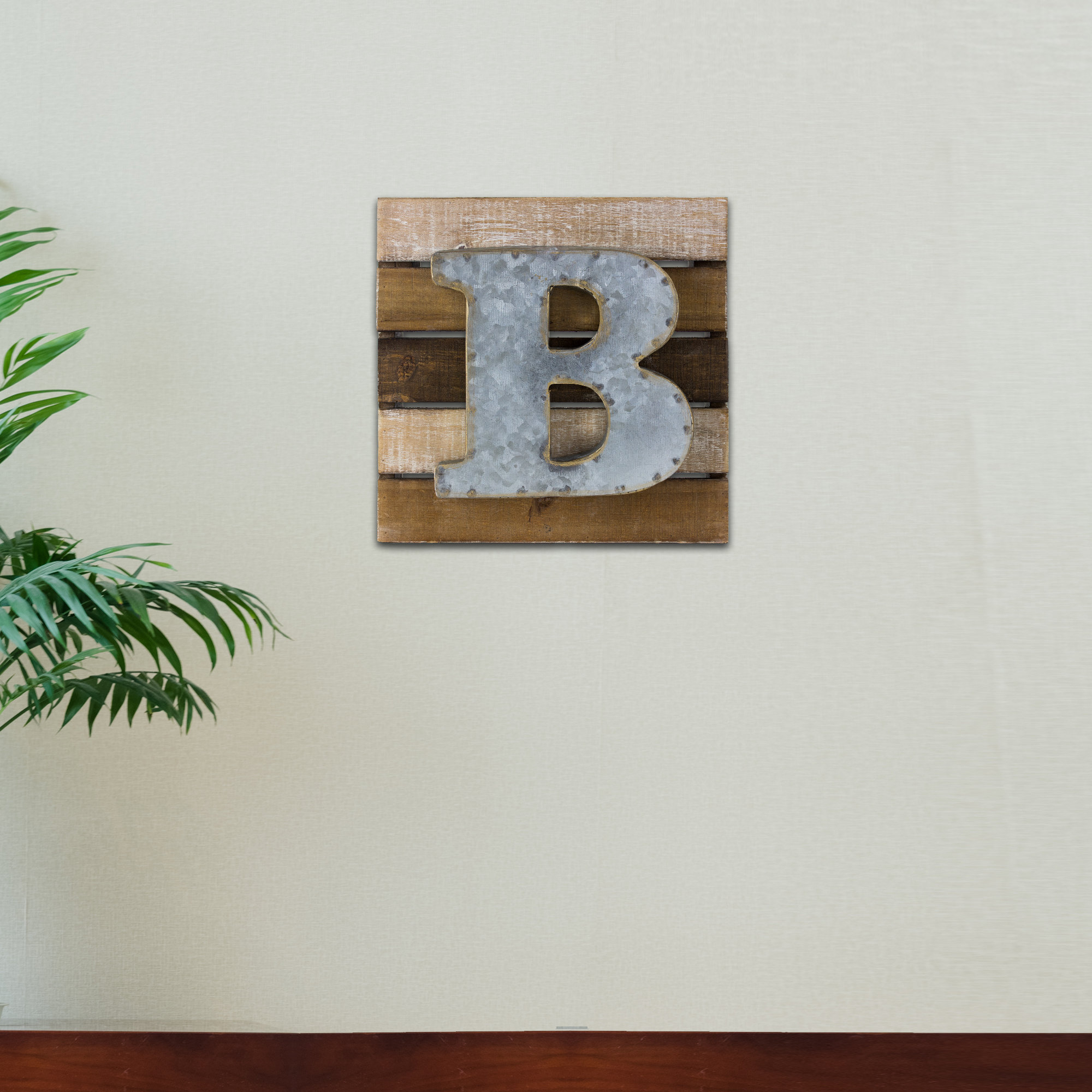 "Wood Rustic Letter Block 'b' Wall Decor with Mccue 11.5"" Typewriter Text Wall Decor (Image 30 of 30)"