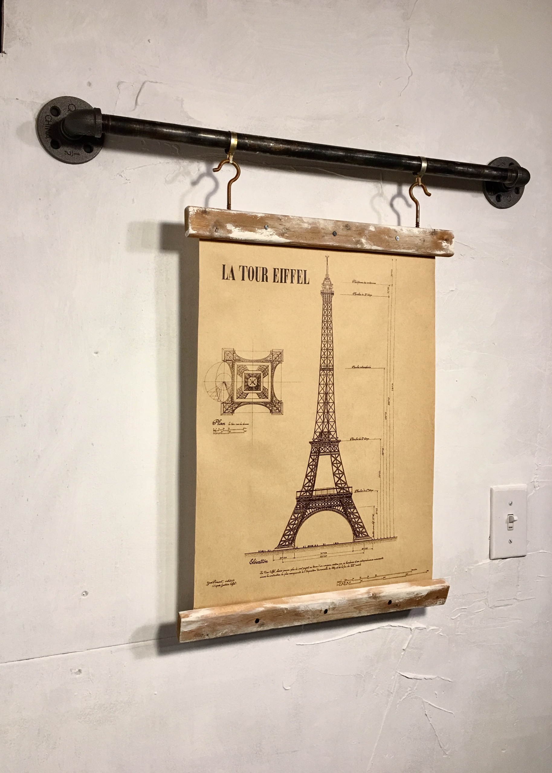 Wood Signs, Wooden Signs ,industrial Pipe, Rustic Wall Decor, Eiffel Tower, Blueprint,art Print,wall Hanging Pertaining To Latour Wall Decor (View 16 of 30)