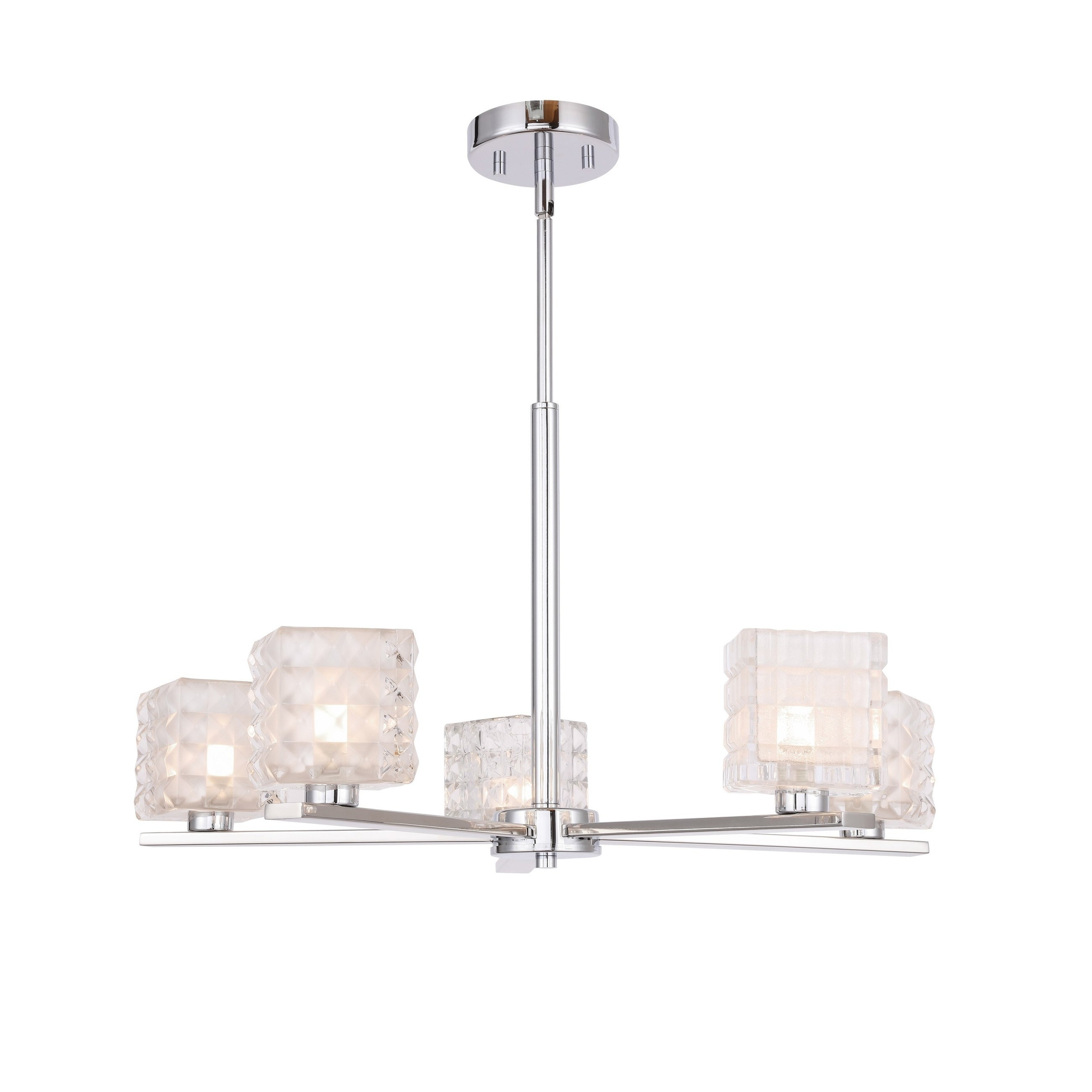Woodbridge 17315chrle Claudia 5l Chandelier W/ Led Within Hewitt 4 Light Square Chandeliers (View 18 of 30)