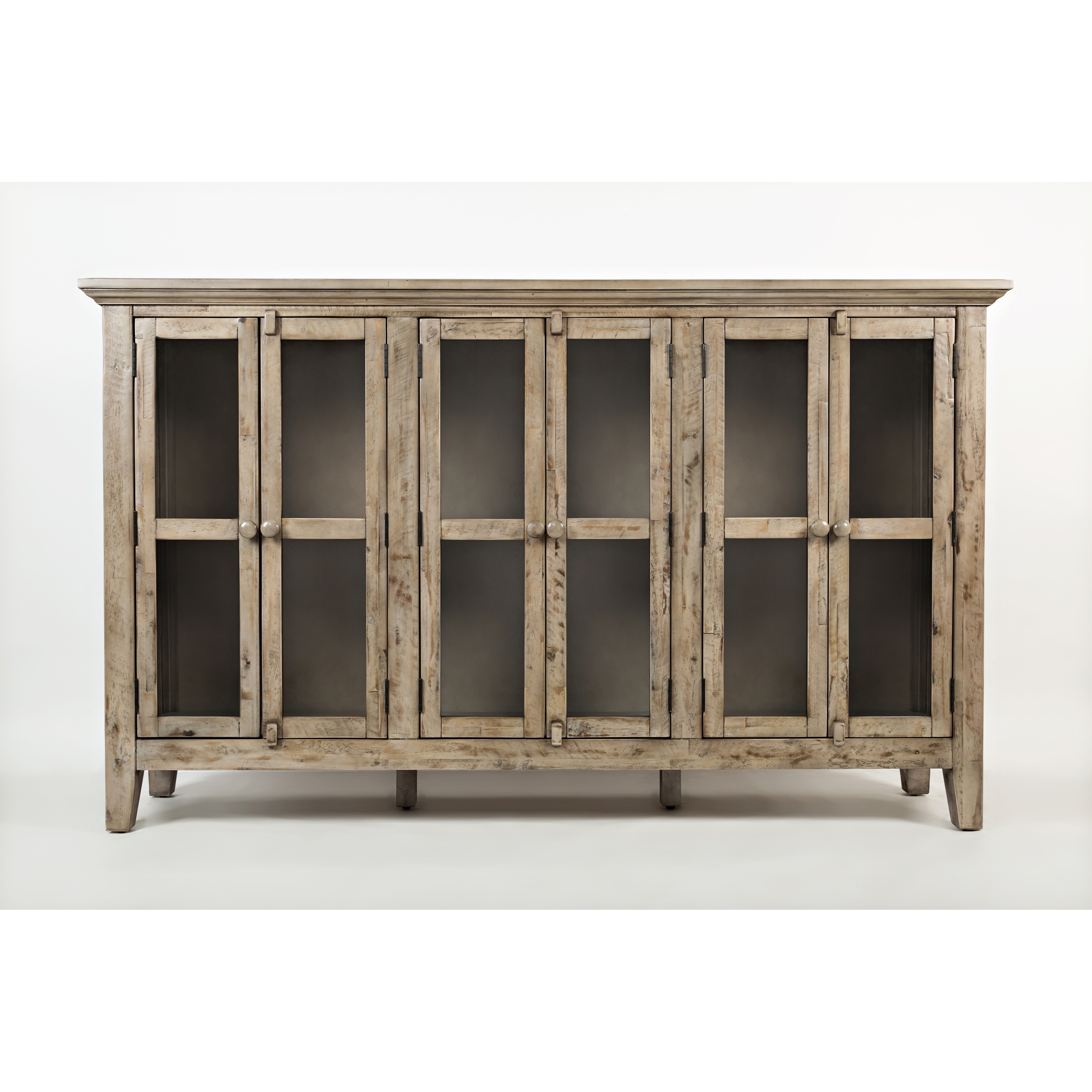 Wooden Accent Cabinet With 6 Glass Doors, Weathered Gray for Eau Claire 6 Door Accent Cabinets (Image 30 of 30)