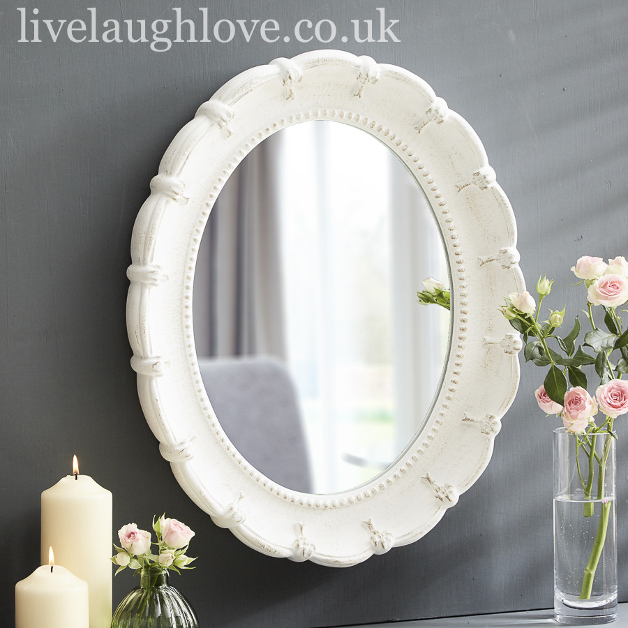Wooden Scalloped Oval Wall Mirror With Oval Wood Wall Mirrors (View 30 of 30)