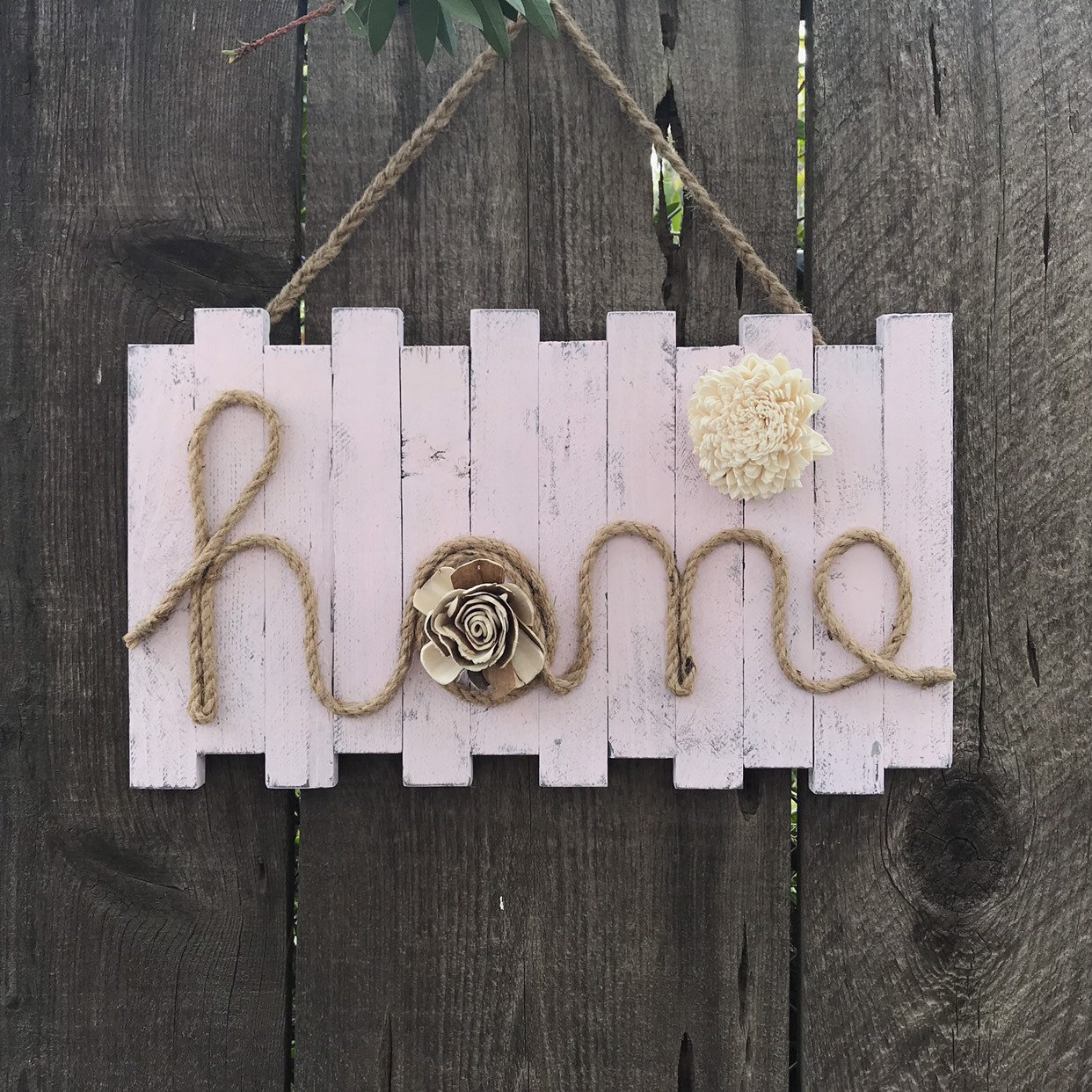 Word Home Sign, Wall Decor Sign, Handmade Wood Wall Hanging, Home Quote  Sign With Rope And Flowers, Handcrafted Wood Sign, with regard to Metal Rope Wall Sign Wall Decor (Image 30 of 30)