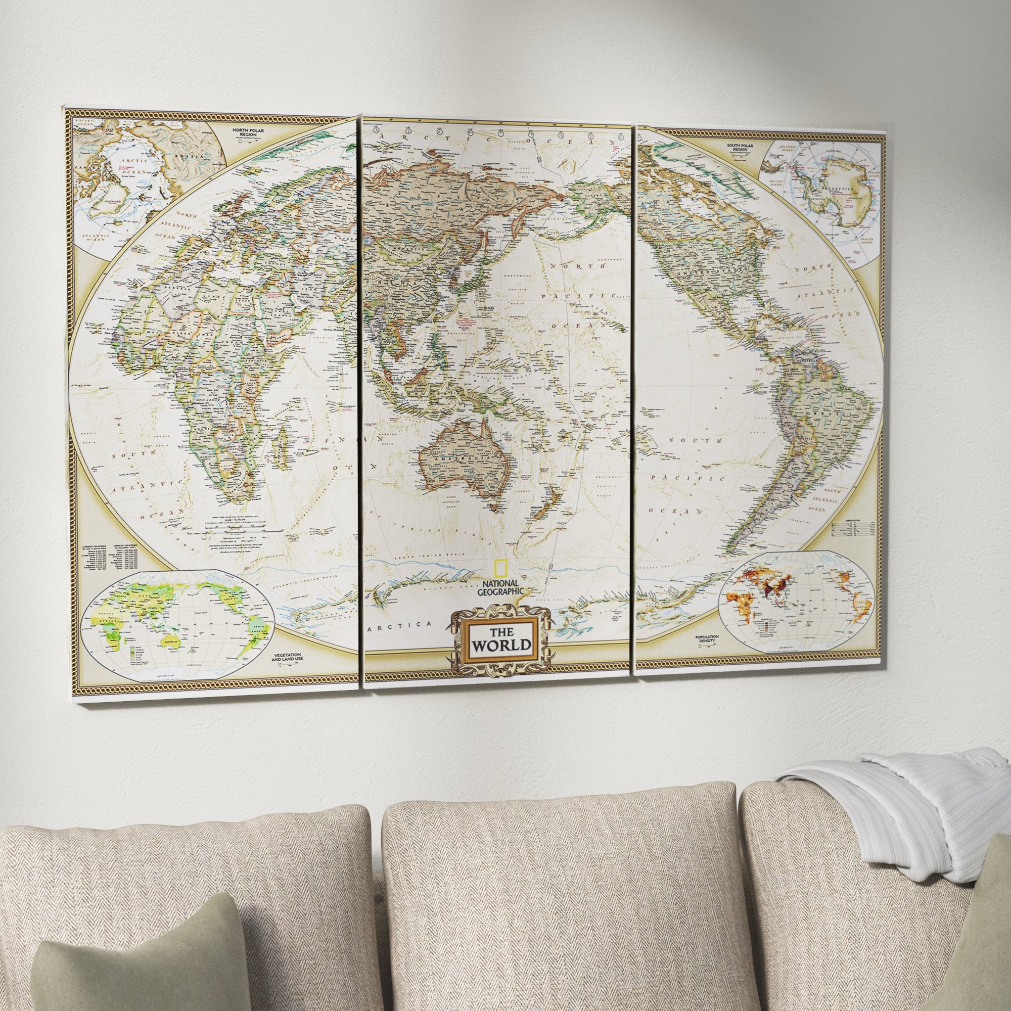 World Map Wall Art in 3 Piece Wall Decor Sets By Wrought Studio (Image 26 of 30)
