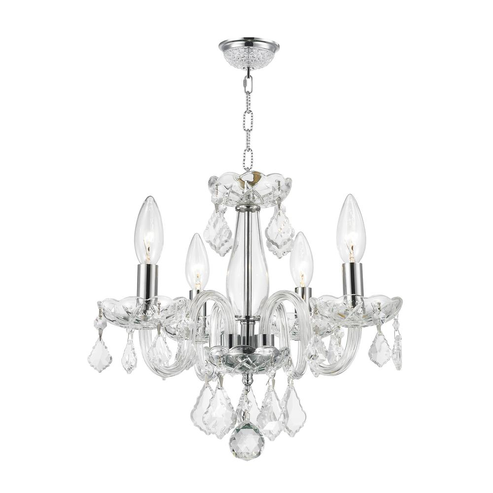 Worldwide Lighting Clarion Collection 4 Light Polished Chrome Crystal Chandelier With Clear Glass With Von 4 Light Crystal Chandeliers (View 10 of 30)