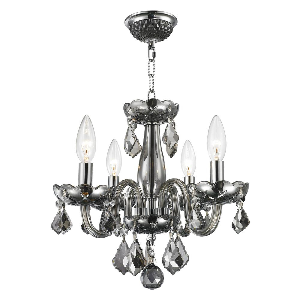 Worldwide Lighting Clarion Collection 4 Light Polished Chrome Smoke Crystal Chandelier Regarding Von 4 Light Crystal Chandeliers (View 20 of 30)