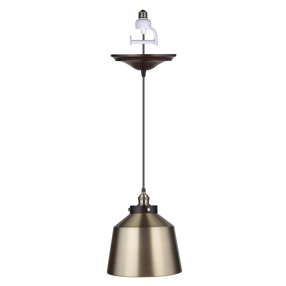 Worth Home Products Instant Pendant 1-Light Recessed Light Conversion Kit  Brushed Bronze And Brushed Brass Metal Dome Shade throughout Priston 1-Light Single Dome Pendants (Image 29 of 30)