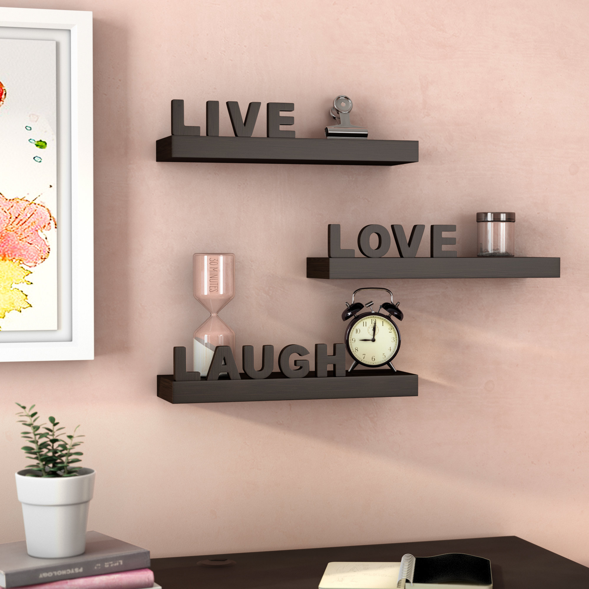 Wrought Studio Howton 3 Piece Live Love Laugh Floating Wall With Live Love Laugh 3 Piece Black Wall Decor Sets (View 4 of 30)